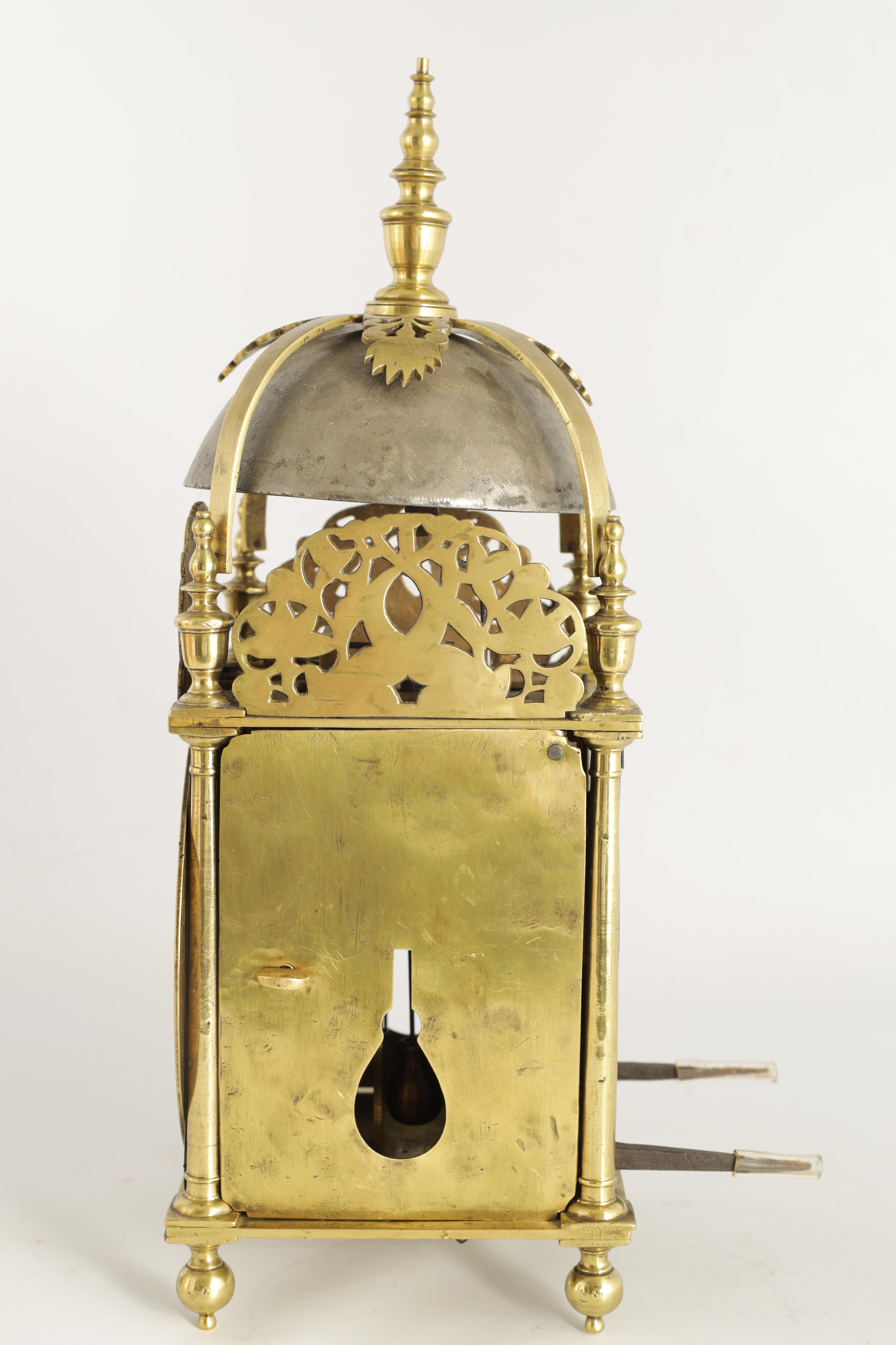 A FINE CHARLES II BRASS LANTERN CLOCKthe posted frame with side doors, engraved fretwork - Image 6 of 9