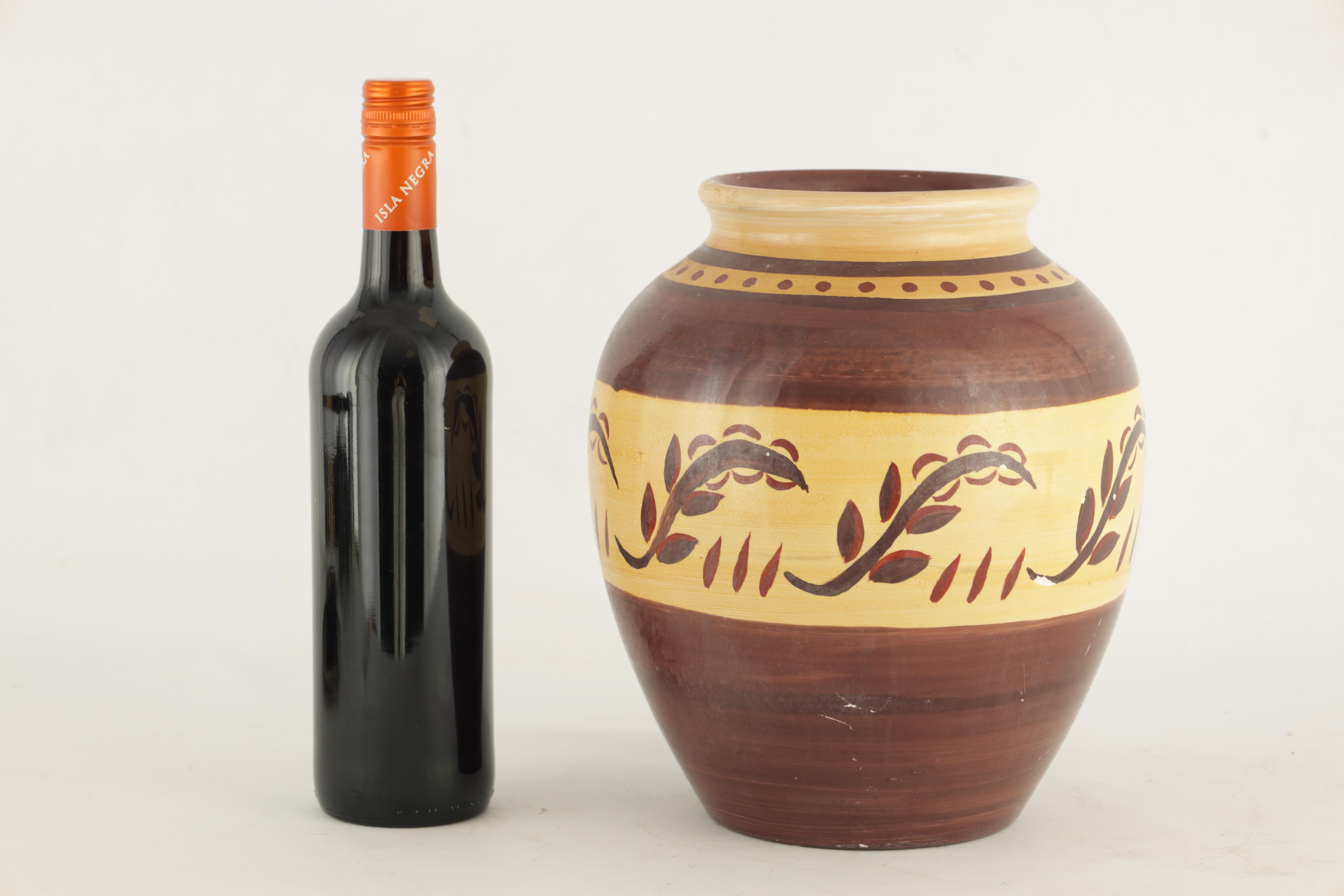 A HIGHLY UNUSUAL 1930S/40S MOORCROFT LARGE BULBOUS VASE decorated with a neutral ground stylised - Image 2 of 6