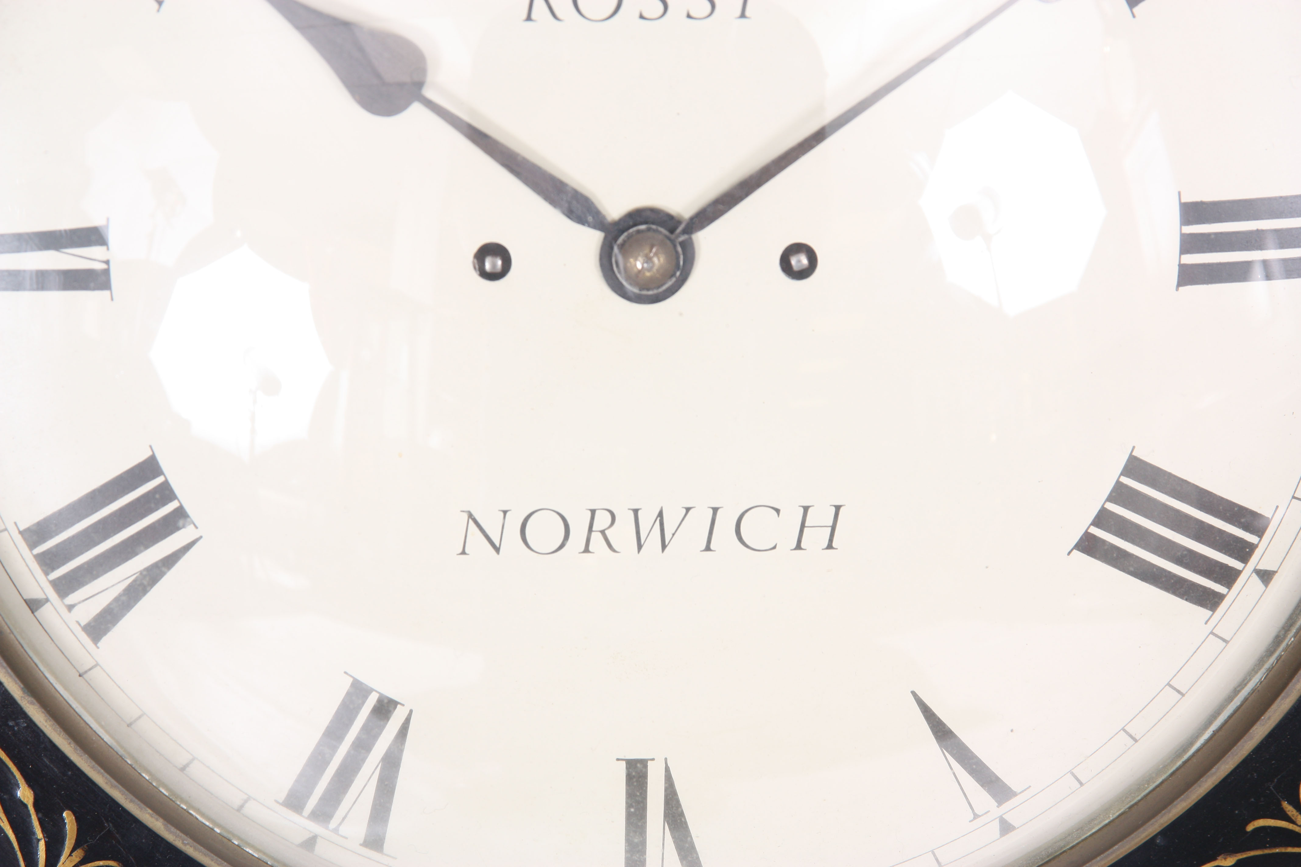 ROSSI, NORWICH A REGENCY EBONISED DOUBLE FUSEE WALL CLOCK with octagonal brass inlaid surround on - Image 3 of 5
