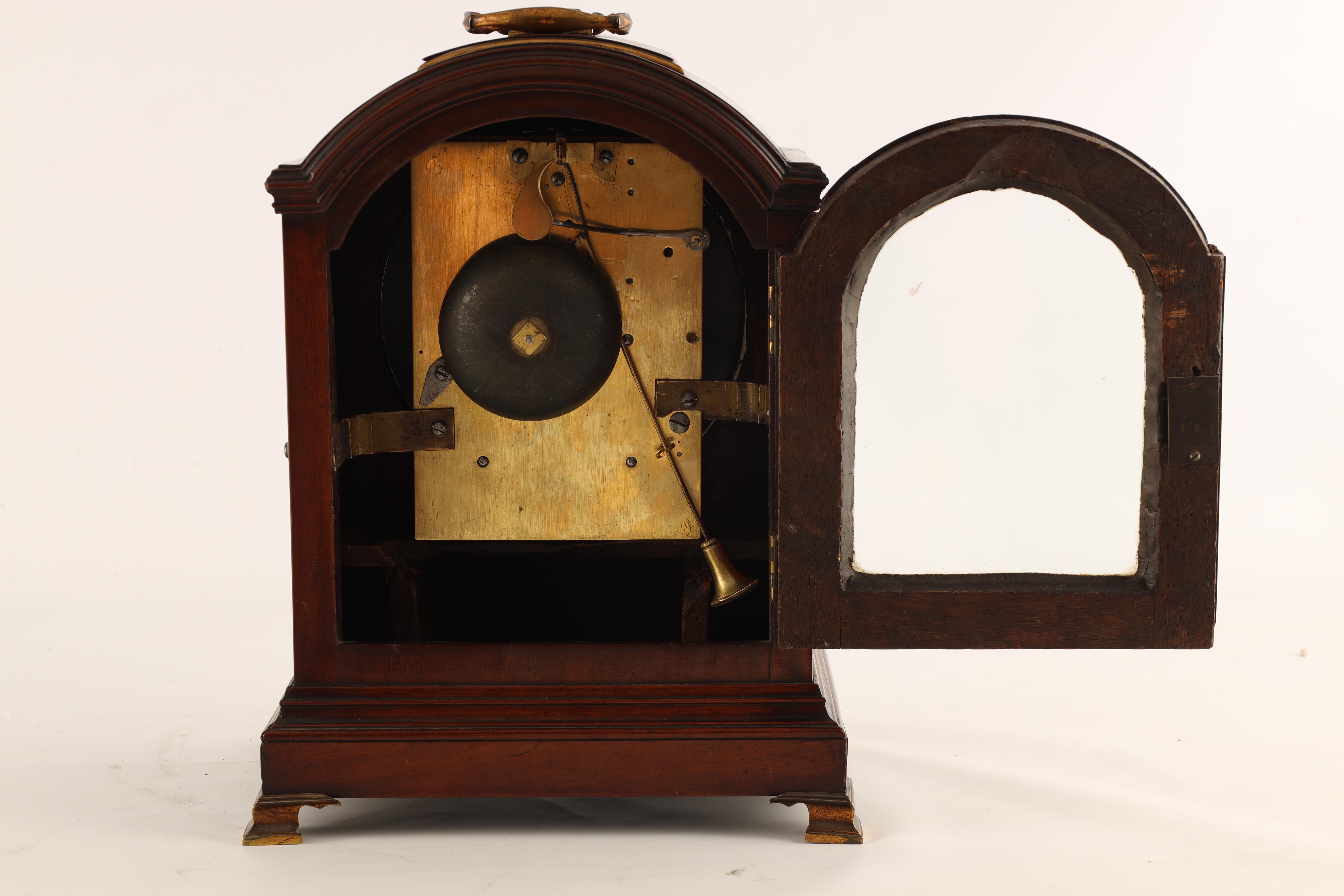 JOHN DOBBS, LONDON A LATE GEORGE III MAHOGANY VERGE BRACKET CLOCK the figured mahogany case with - Image 6 of 8