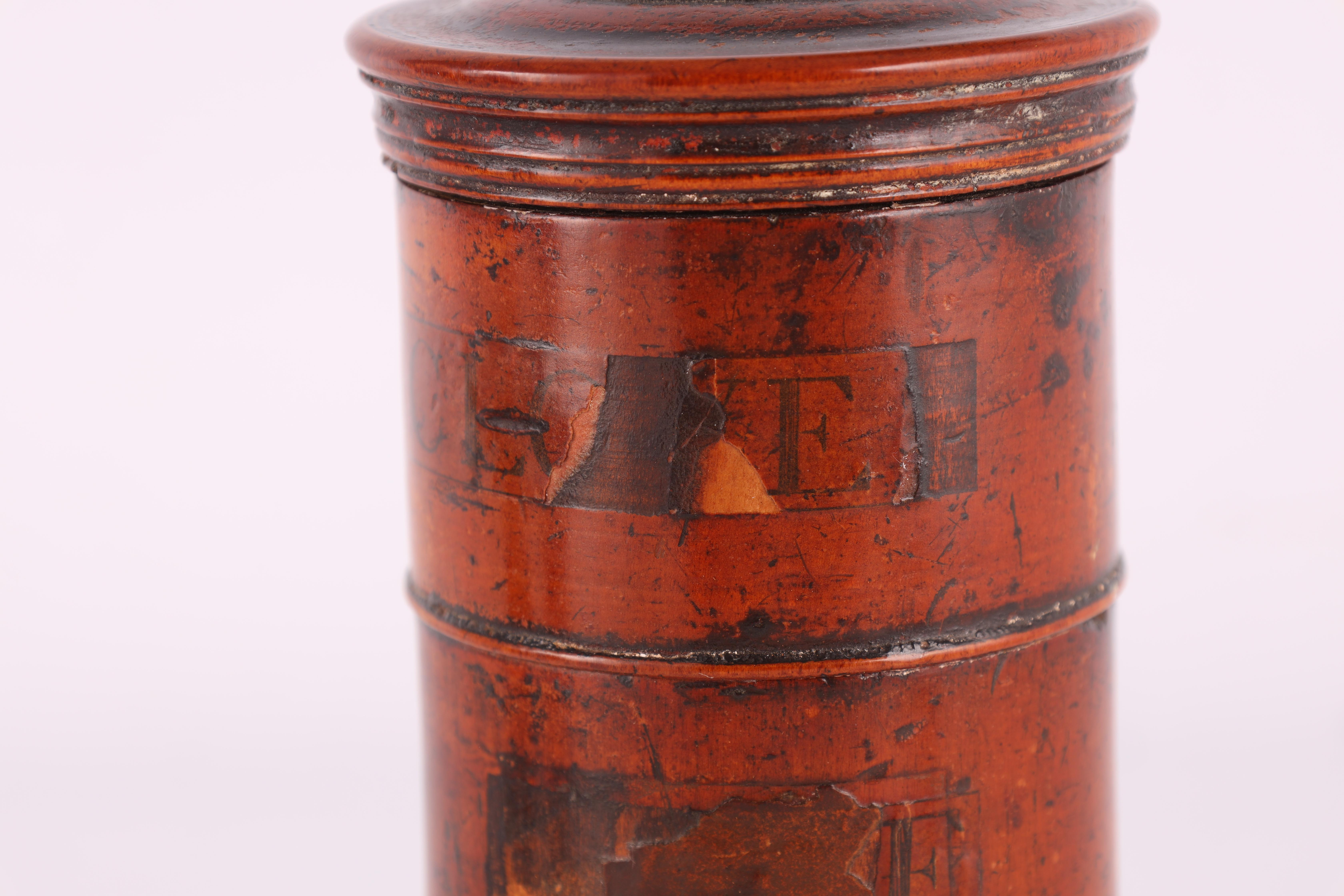 TWO EARLY 19TH CENTURY SYCAMORE TREEN SPICE TOWERS with original labels, the three stack 15cm - Image 4 of 13