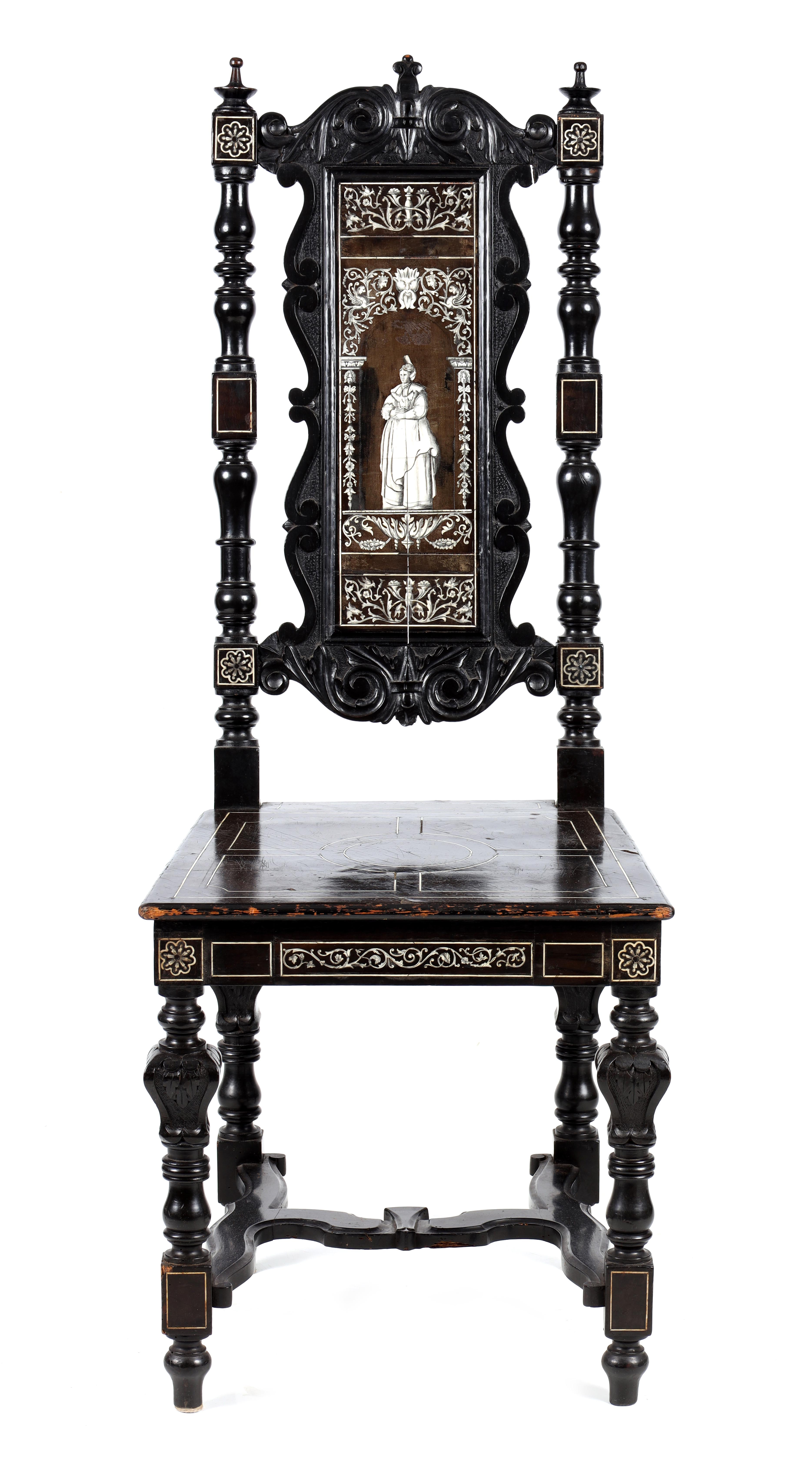 A PAIR OF LATE 19TH CENTURY EBONISED AND BONE INLAID ITALIAN SIDE CHAIRS with finely inlaid - Image 2 of 6