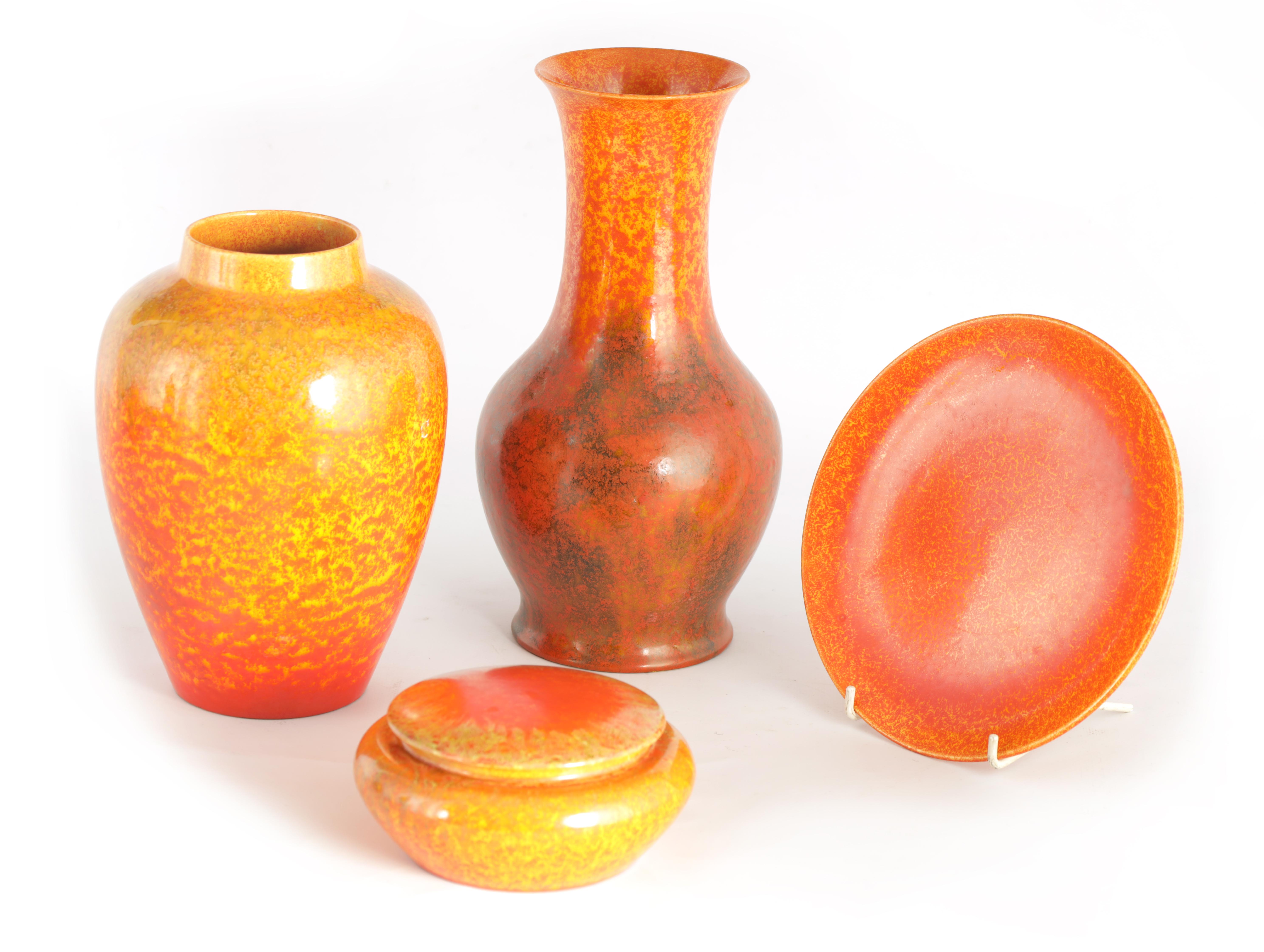 A GROUP OF FOUR PIECES OF ROYAL LANCASTRIAN WARE comprising a tapering shouldered vase, a baluster