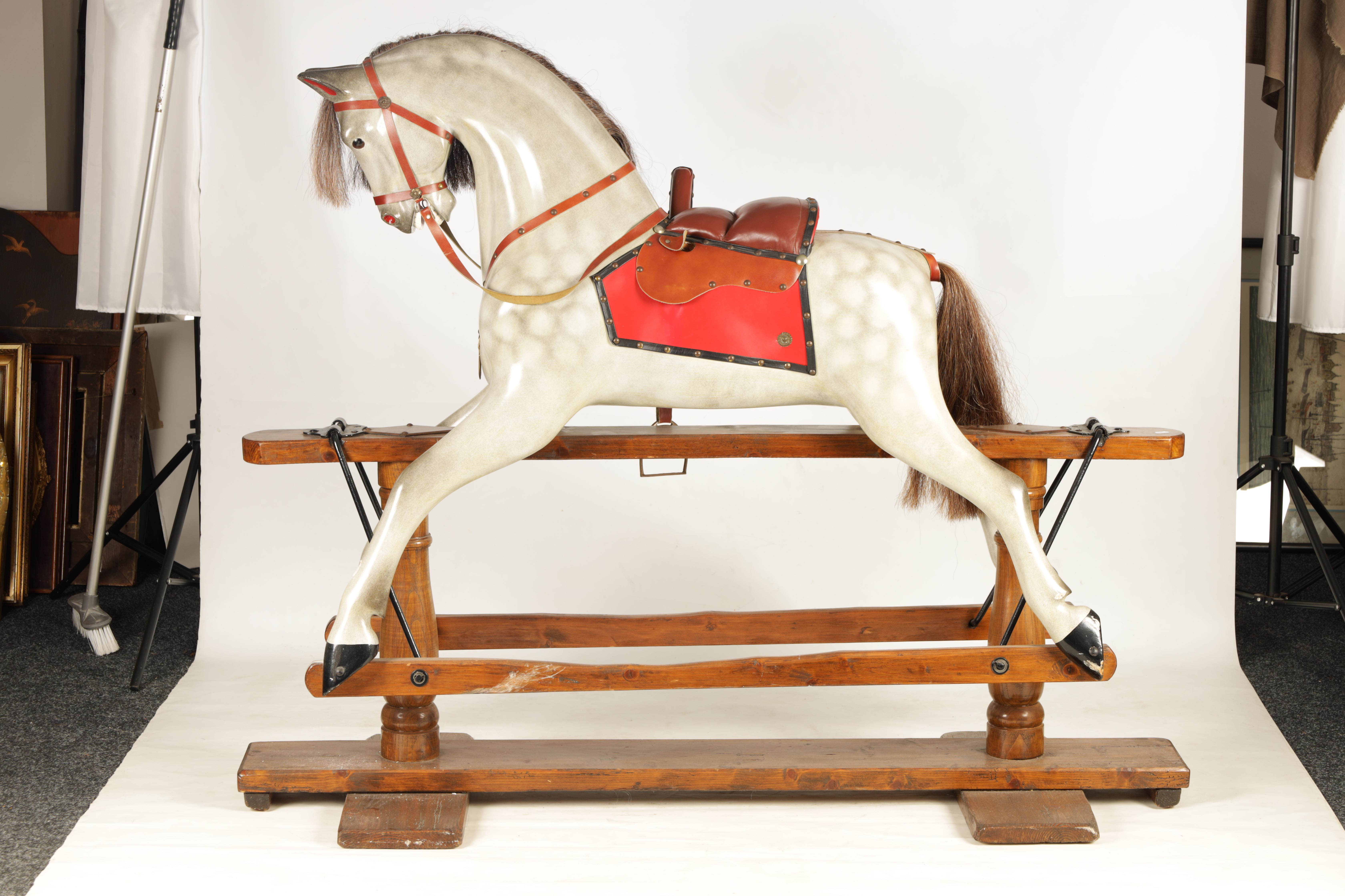A LARGE 20TH CENTURY DAPPLE GREY PAINTED WOOD ROCKING HORSE with leather seat and bridle 157cm - Image 7 of 8