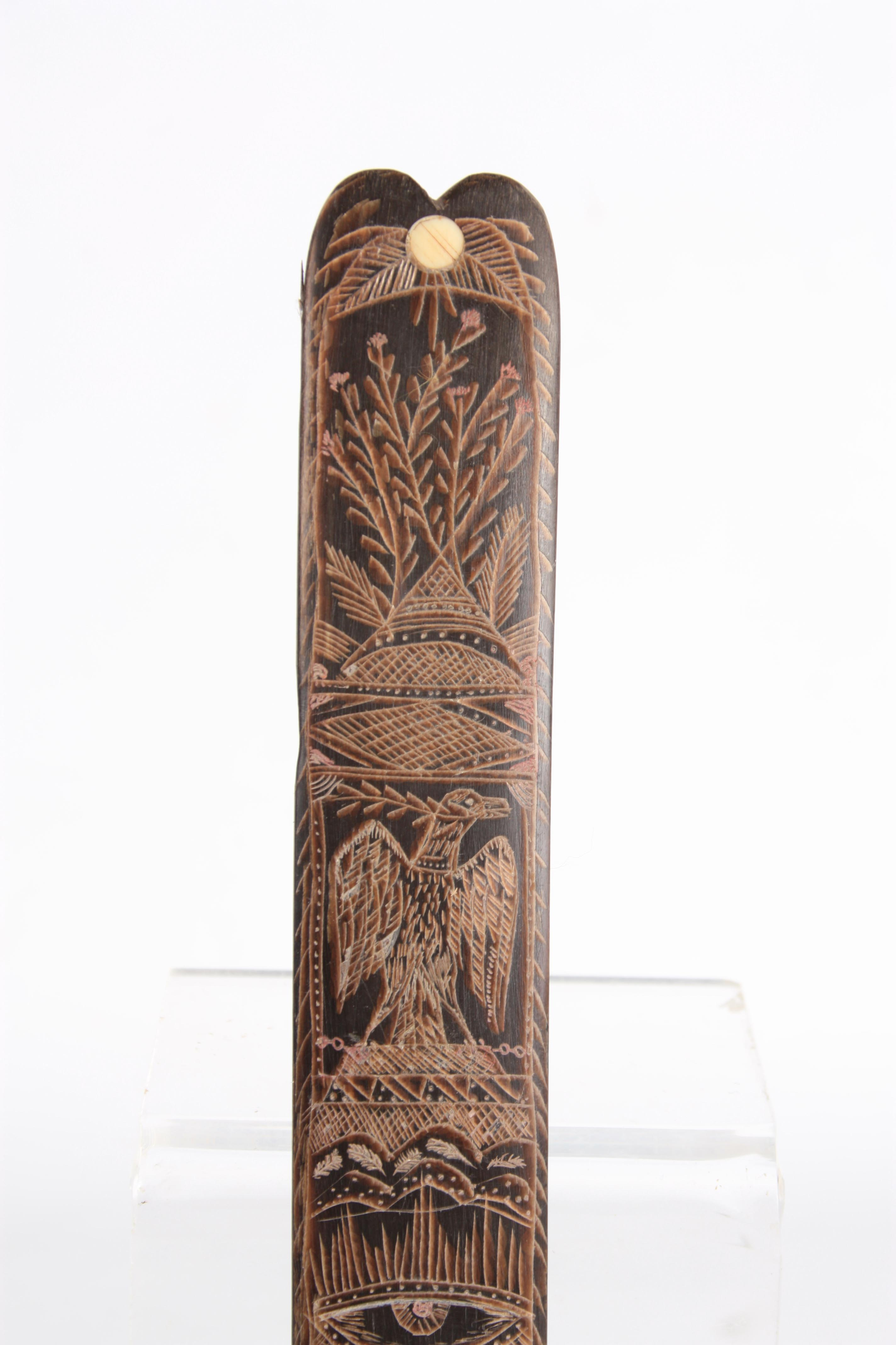 A 19TH CENTURY SAILOR'S BALEEN SCRIMSHAW BUSK finely engraved with ships, flags and flowers etc. - Image 3 of 6
