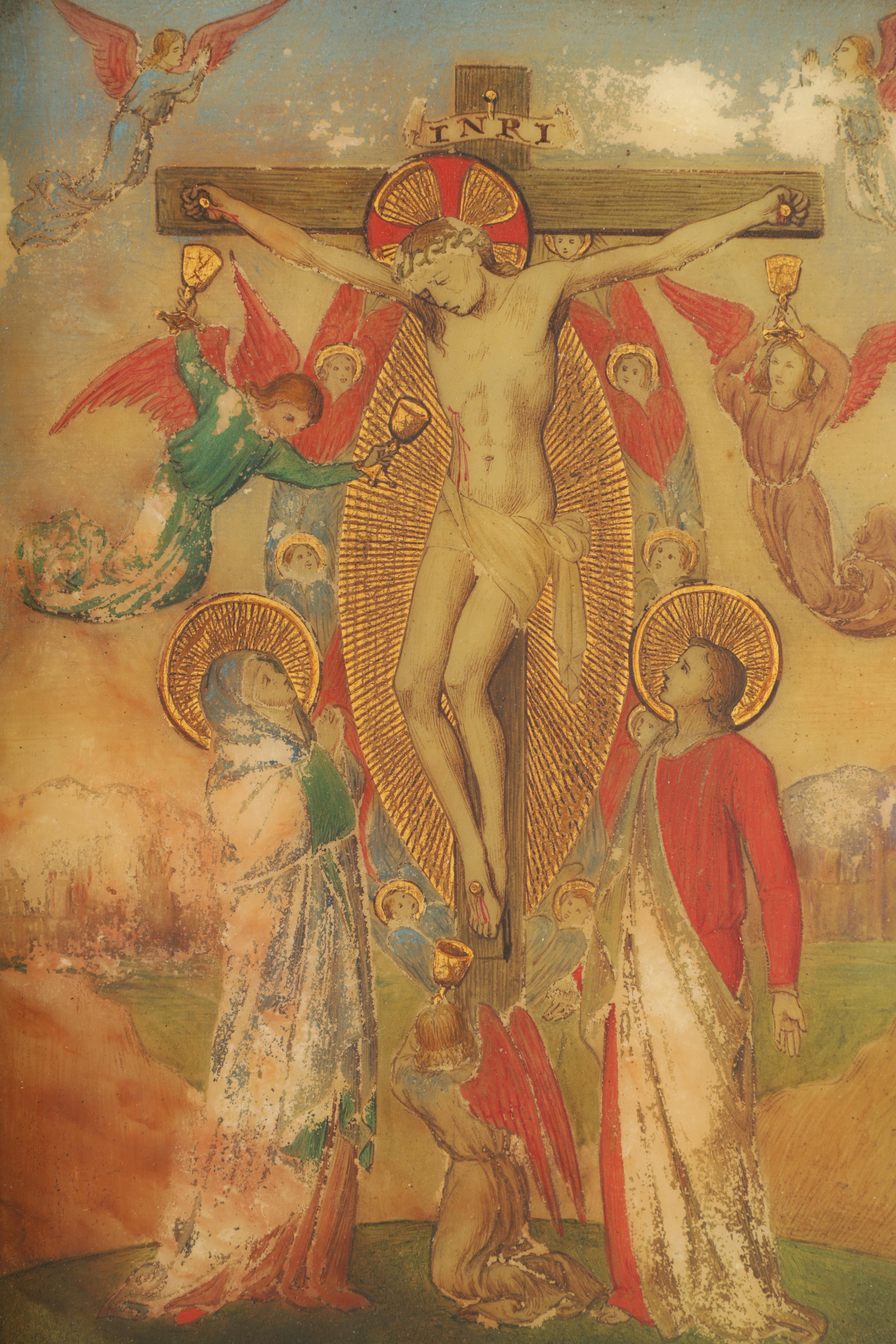A 19TH CENTURY OIL ON ONYX PANEL.The crucifixion of Christ 22cm high, 14.5cm wide - in gilt - Image 4 of 5