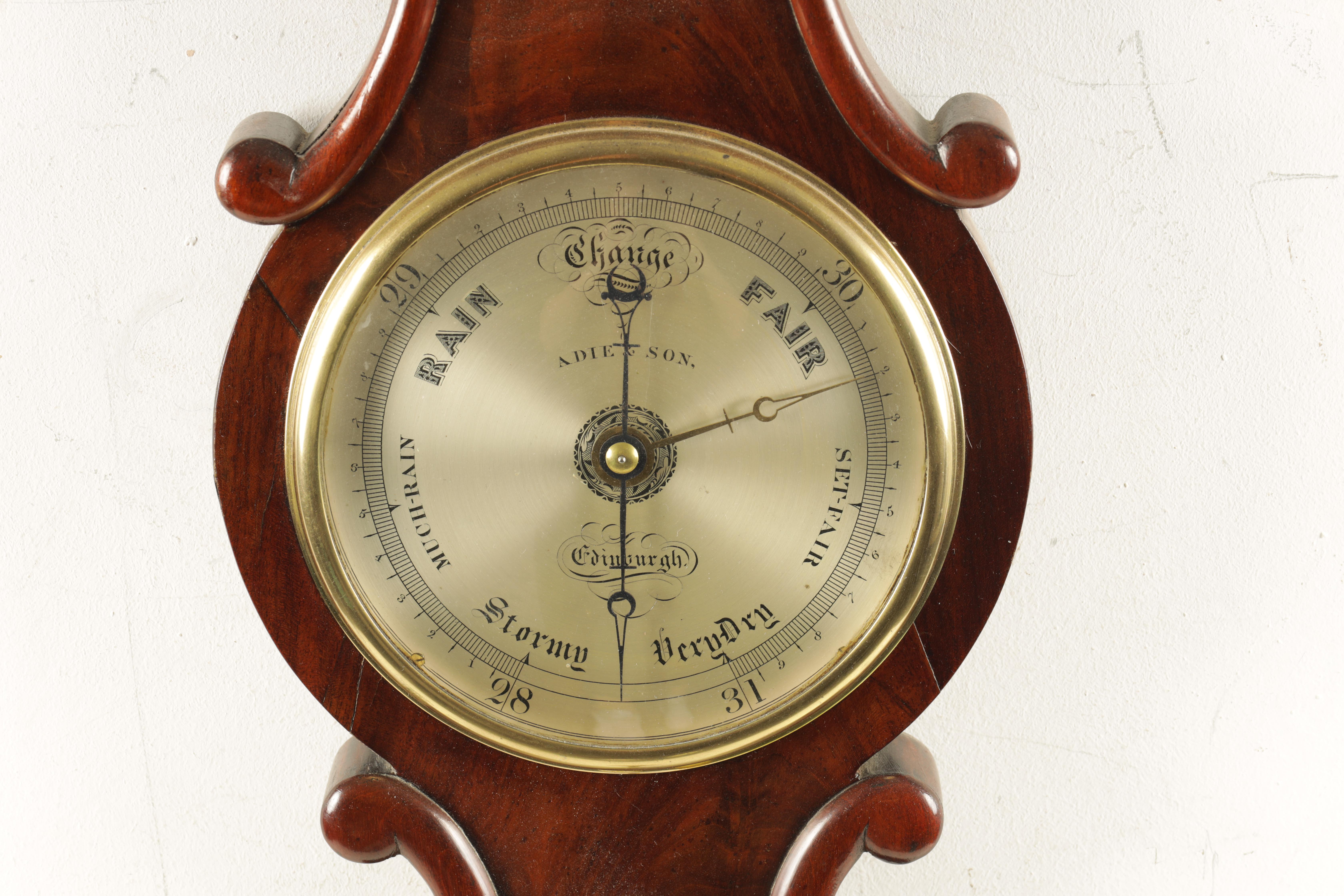 """ADIE AND SON. EDINBURGH A SMALL 19TH CENTURY 6"""" DIAL FIGURED MAHOGANY WHEEL BAROMETER the case - Image 2 of 4"""