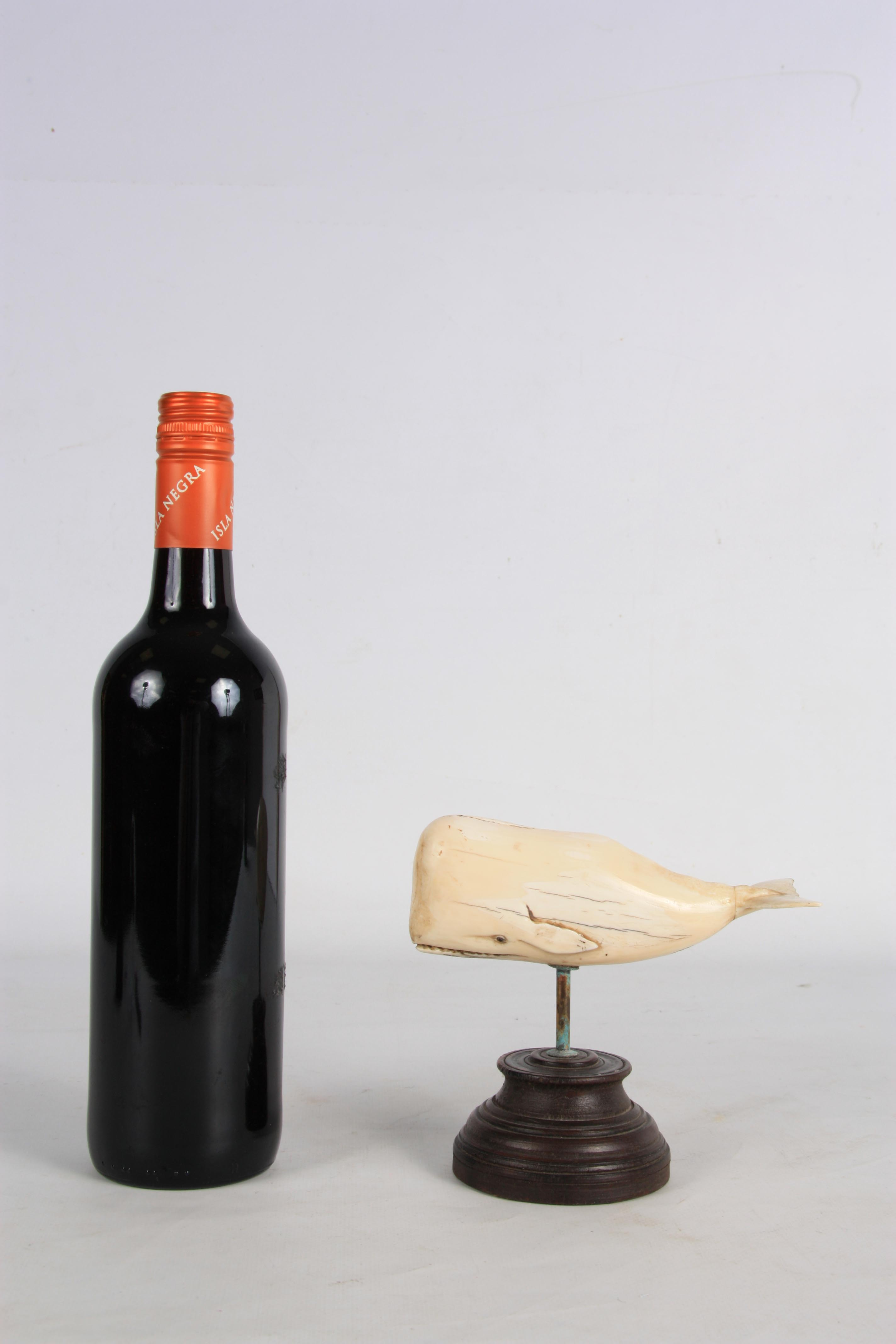 A 19TH CENTURY SAILOR'S WHALE TOOTH SCULPTURE ON STAND modelled as a sperm whale mounted on a turned - Image 2 of 9