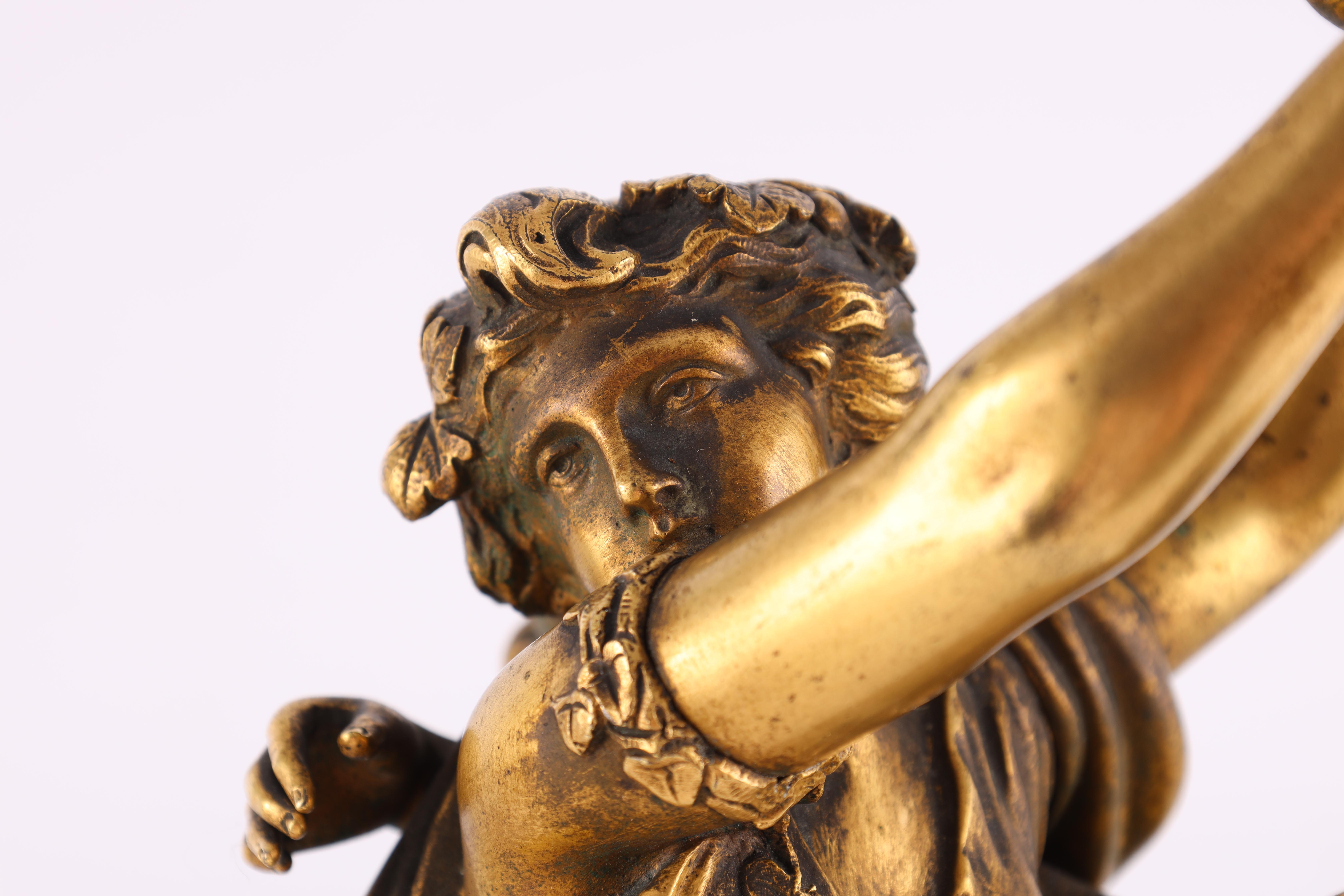AFTER MICHAEL CLAUDE CLODION A LATE 19TH CENTURY FRENCH GILT BRONZE SCULPTURE titled 'Bacchanalia' - Image 7 of 10