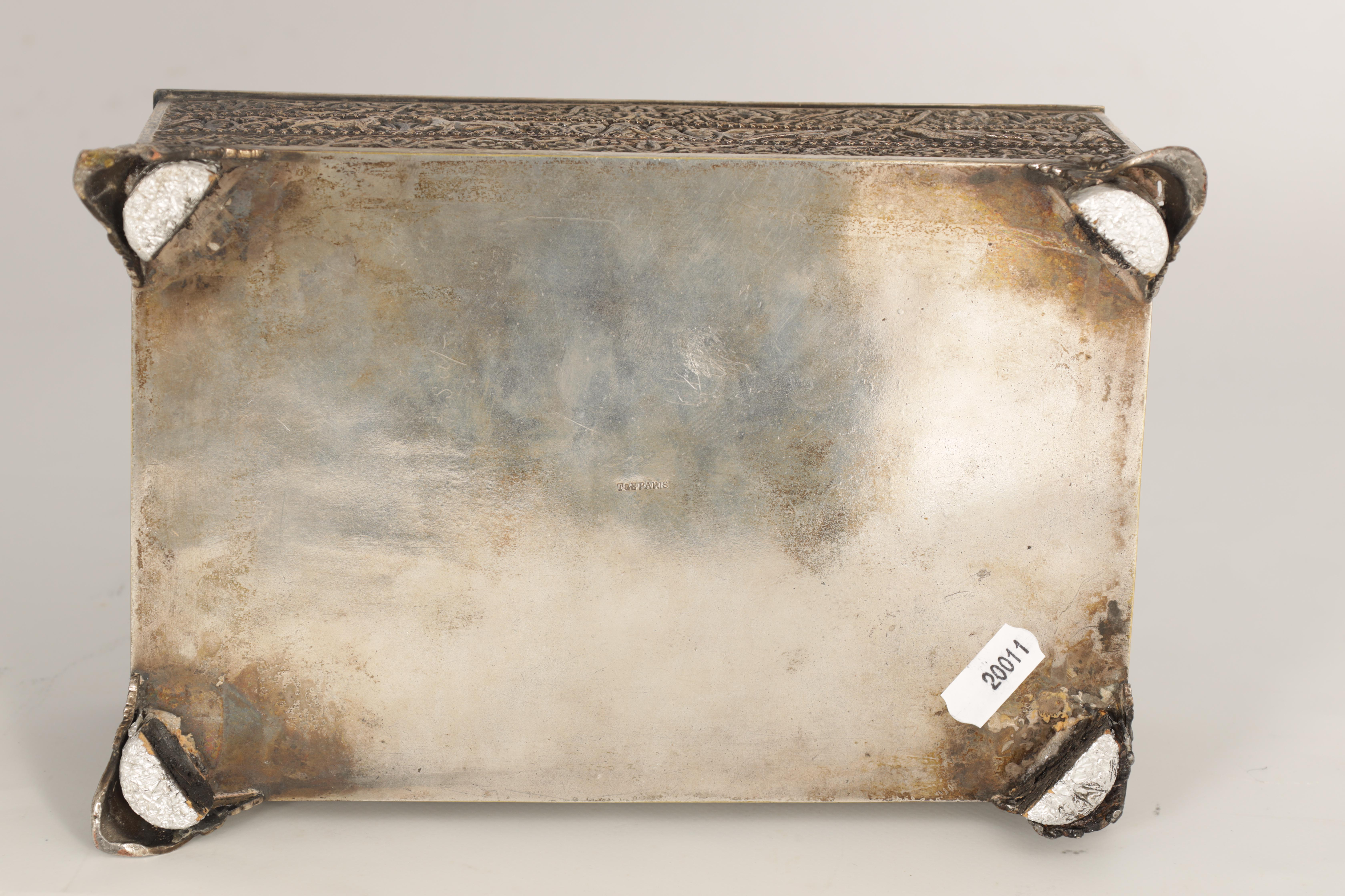 A 19TH CENTURY SILVERED BRONZE JEWELLERY CASKET the lid with intricate relief groups of birds, - Image 11 of 12
