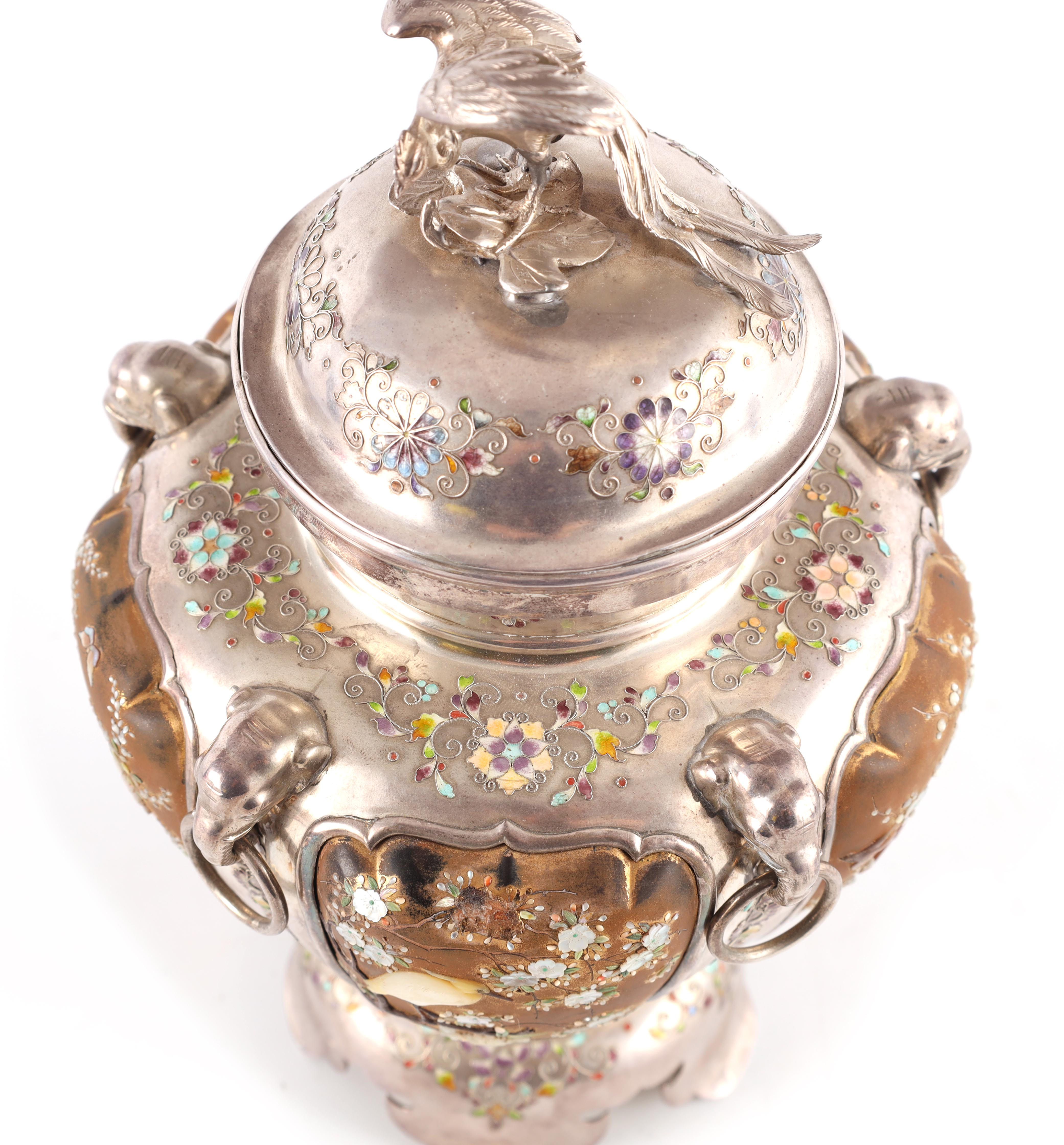 A JAPANESE MEIJI PERIOD SILVER & GOLD LACQUER SHIBAYAMA KORO covered in multicoloured enamels, the - Image 5 of 10