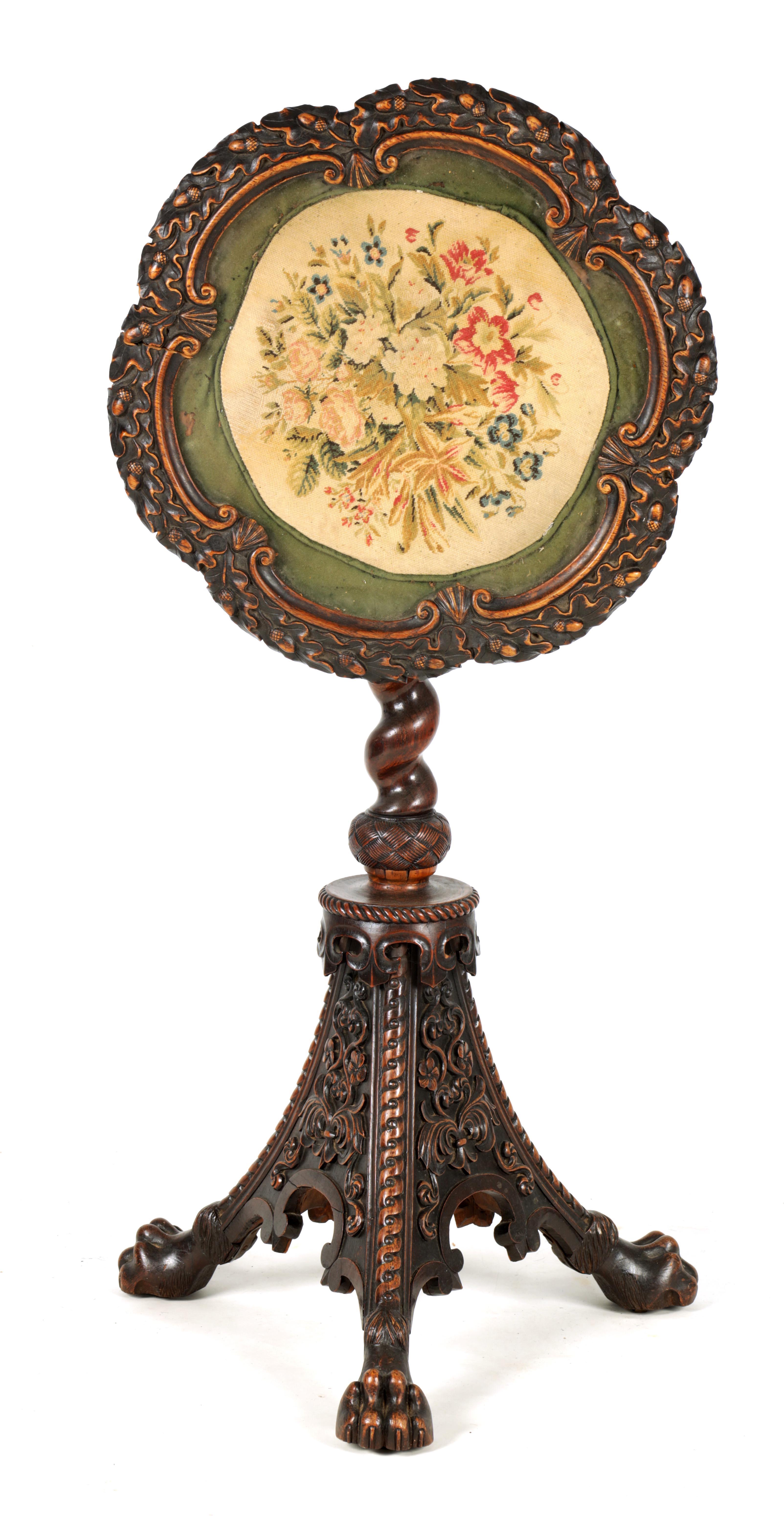 AN UNUSUAL 19TH CENTURY IRISH STYLE POLLARD OAK OCCASIONAL TABLE/ ADJUSTABLE FIRE SCREEN with oak
