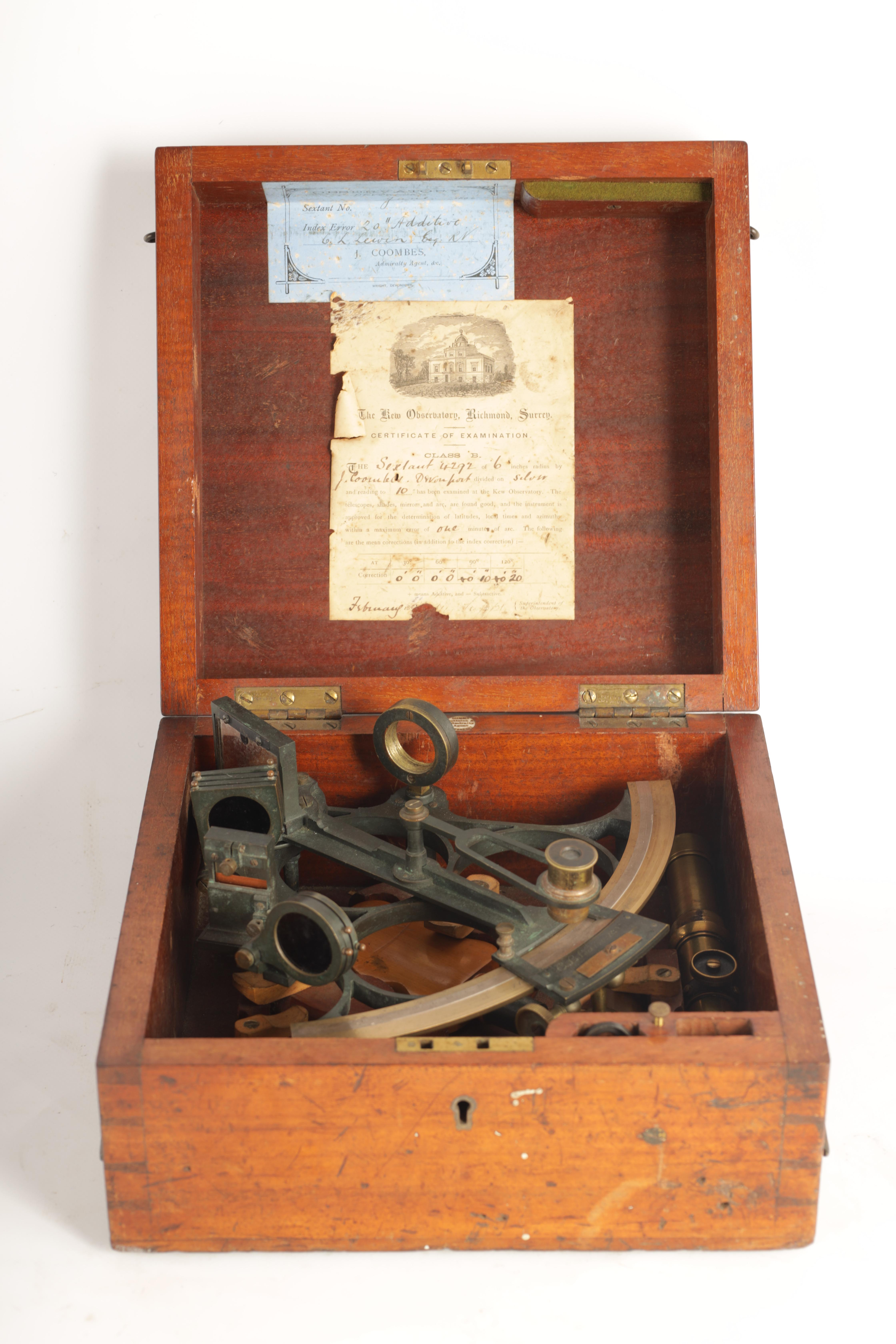 J. COOMBES, OPTICIAN & ADMIRALTY AGENT, DEVONPORT. A LATE 19TH CENTURY BRASS FRAMED SEXTANT IN - Image 11 of 17