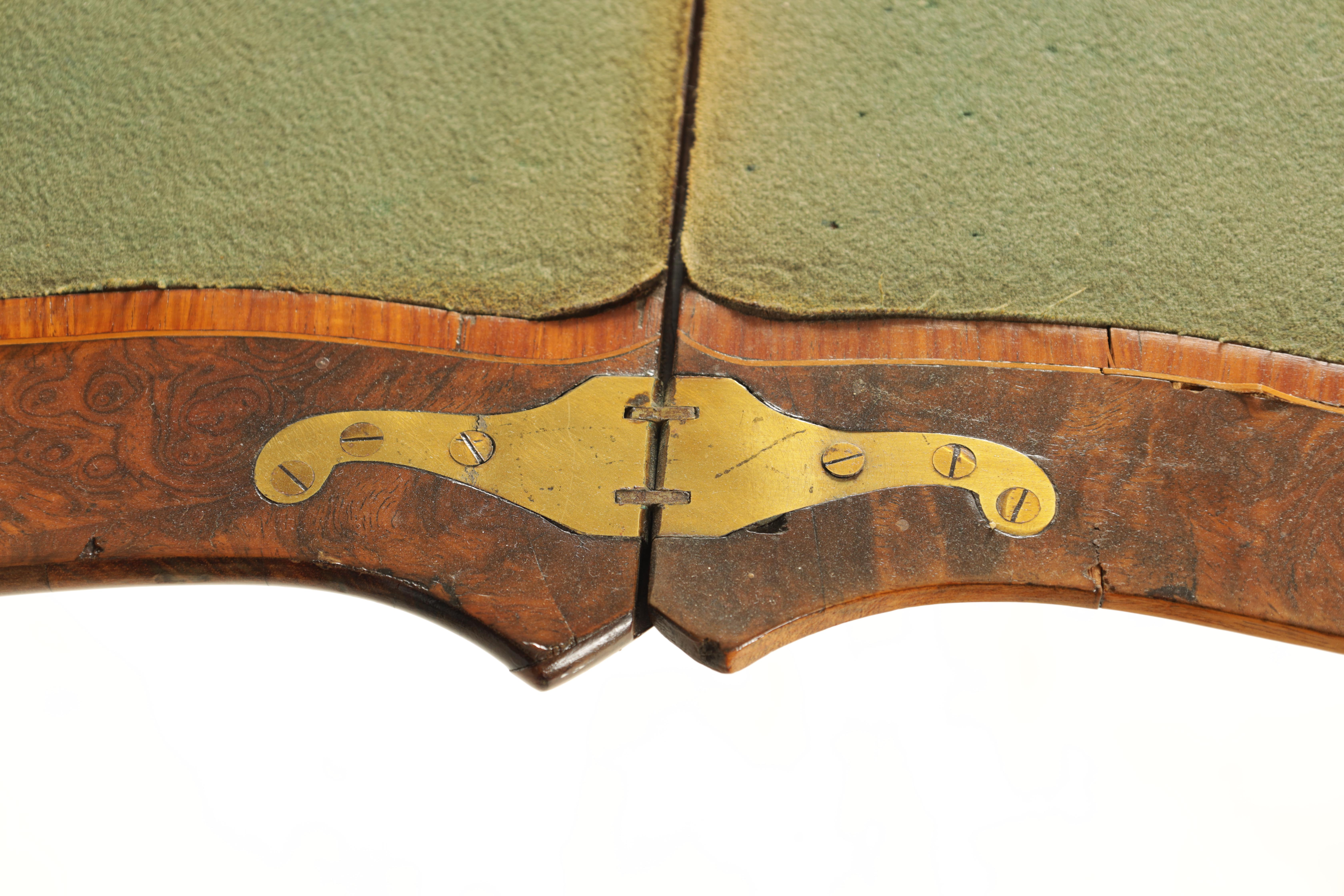 A 19TH CENTURY FRENCH KINGWOOD CROSS-BANDED BURR WALNUT SERPENTINE CARD TABLE with ormolu mounts and - Image 8 of 13