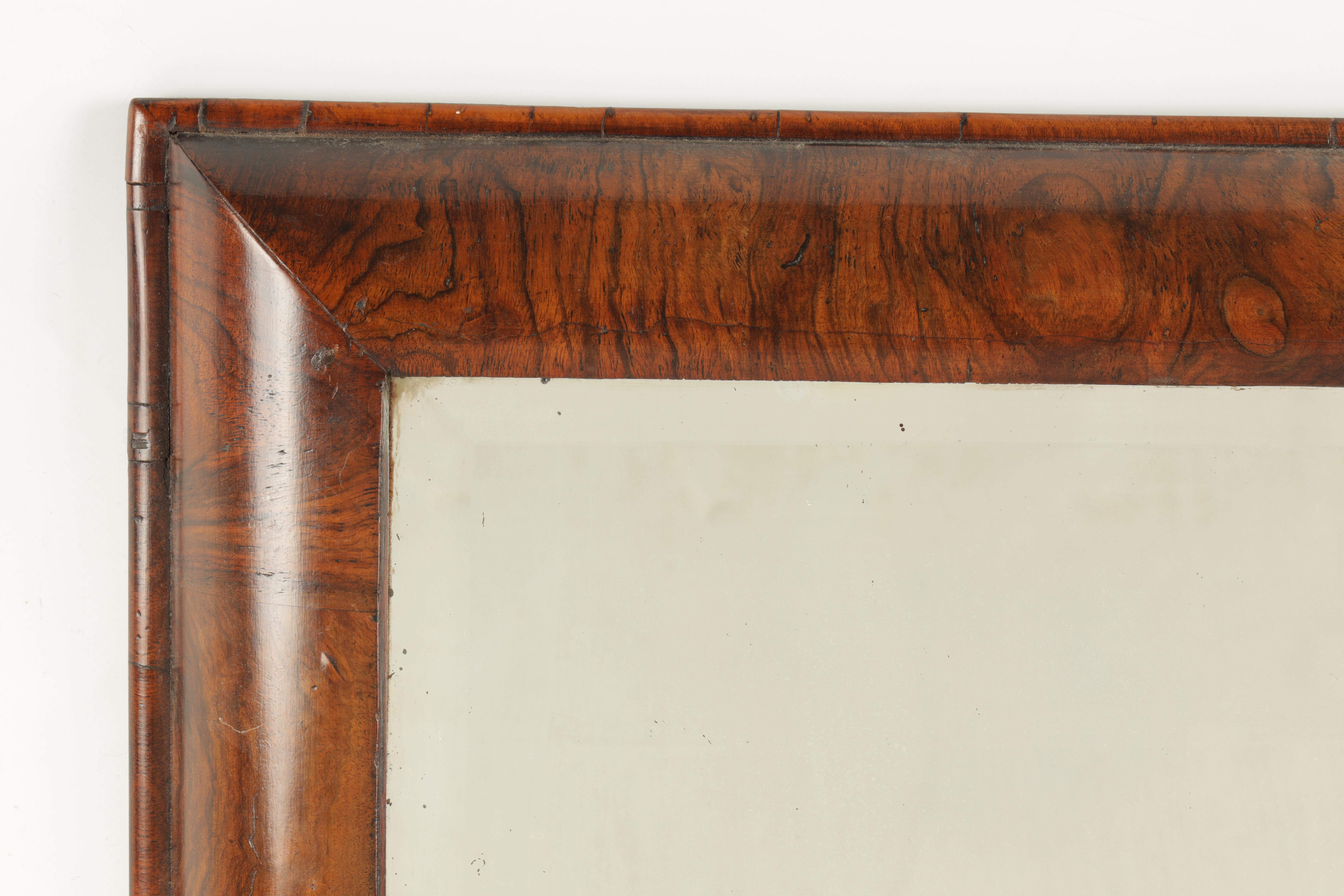 A WILLIAM AND MARY FIGURED WALNUT D SHAPED HANGING MIRROR fitted with original bevelled mirror - Image 3 of 5