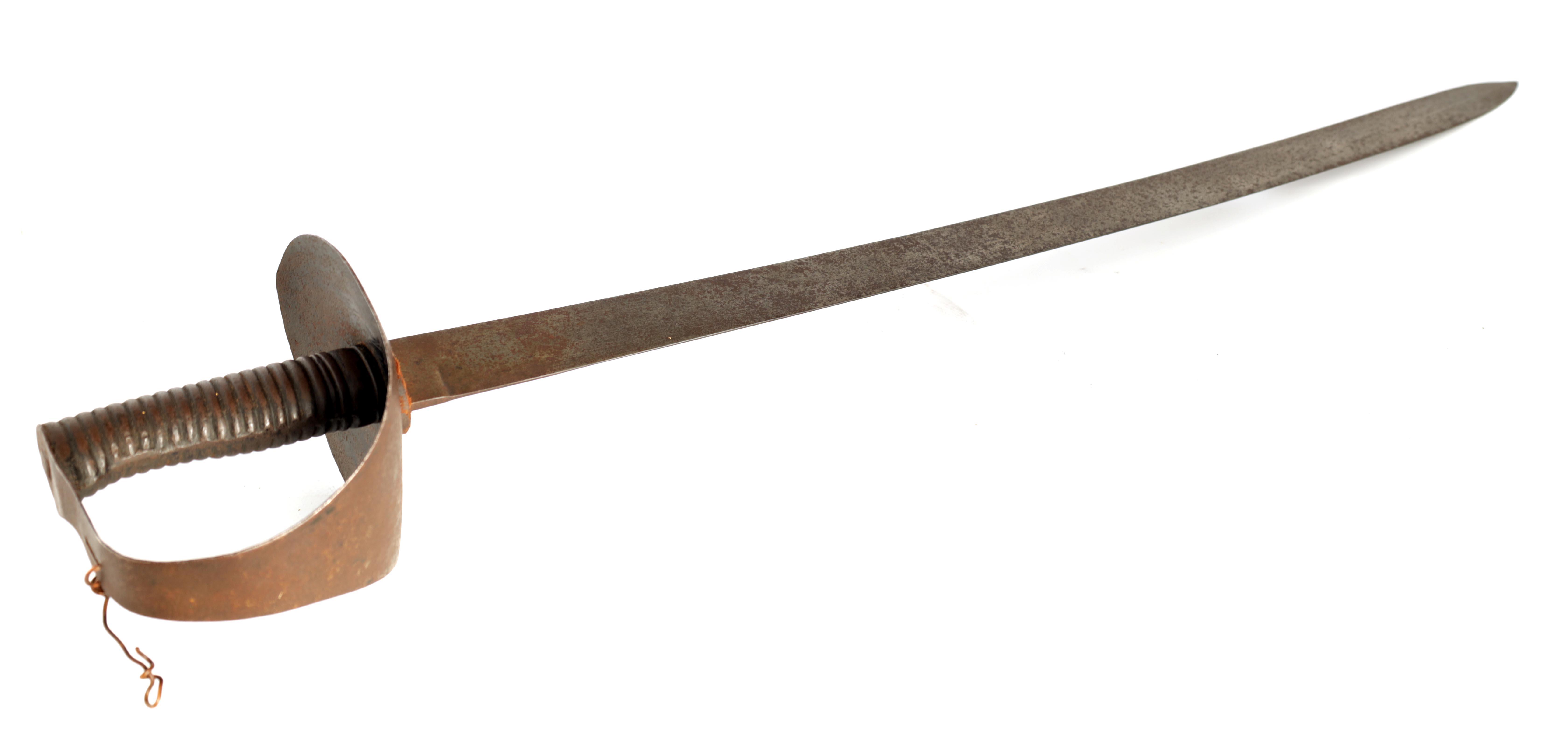 A LATE GEORGE III NAVAL CUTLASS having a slightly curved steel single-edged blade on a ribbed grip