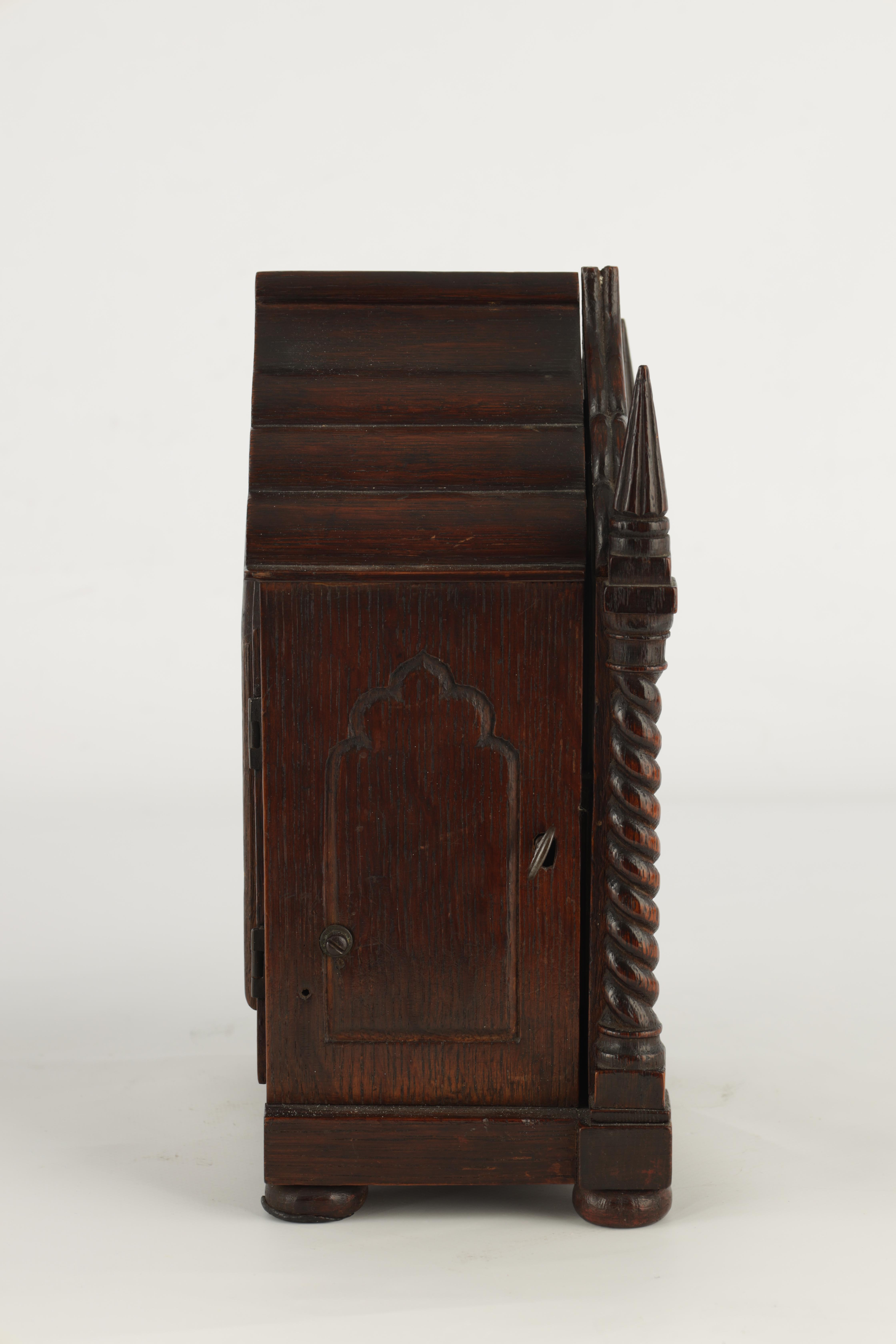 A SMALL MID 19TH CENTURY OAK CASED DOUBLE FUSEE MANTEL CLOCK the gothic style case with twisted - Image 3 of 7