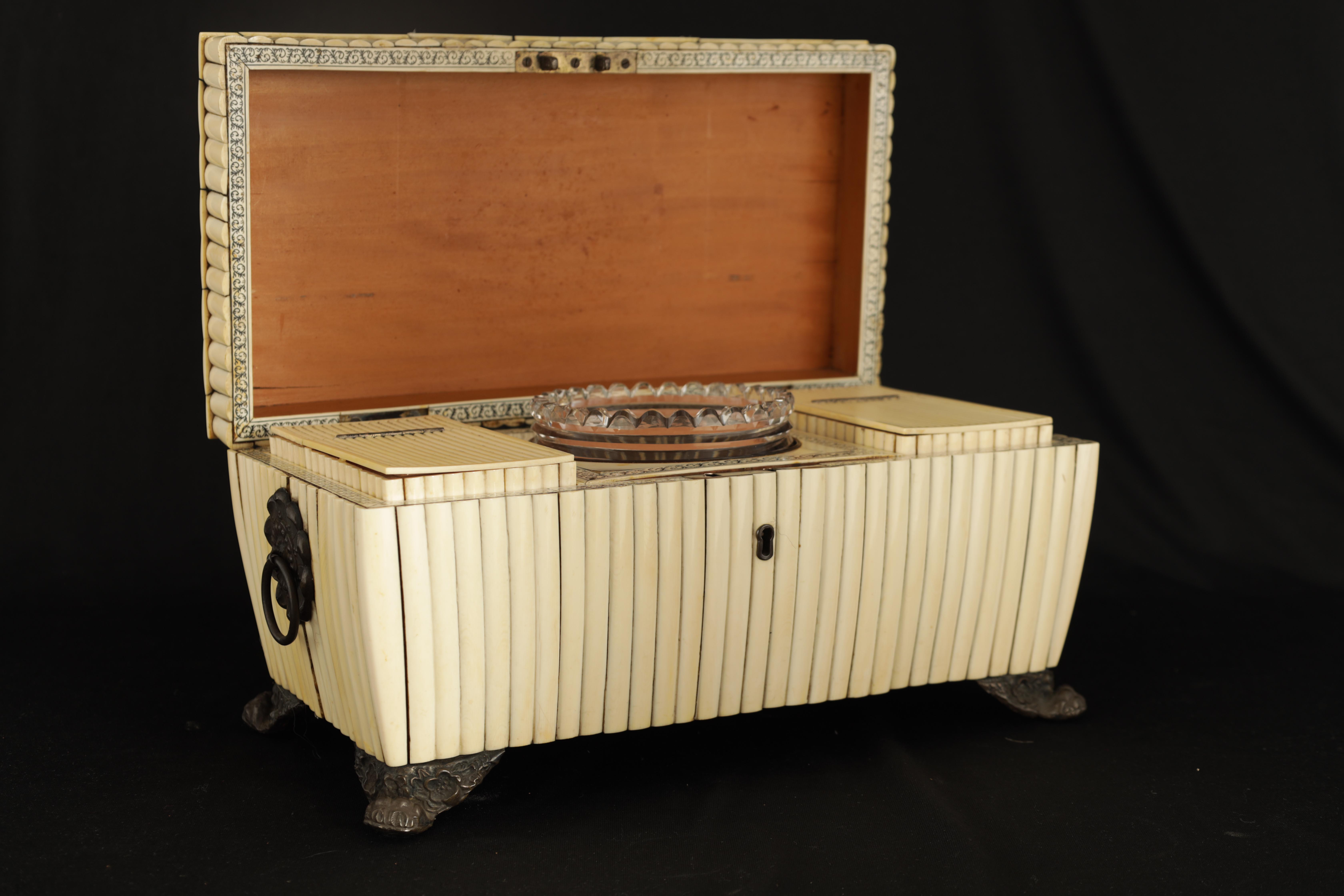 A REGENCY ANGLO-INDIAN IVORY AND SANDALWOOD VIZAGAPATAM TEA CADDY of sarcophagus form with gadroon - Image 2 of 12