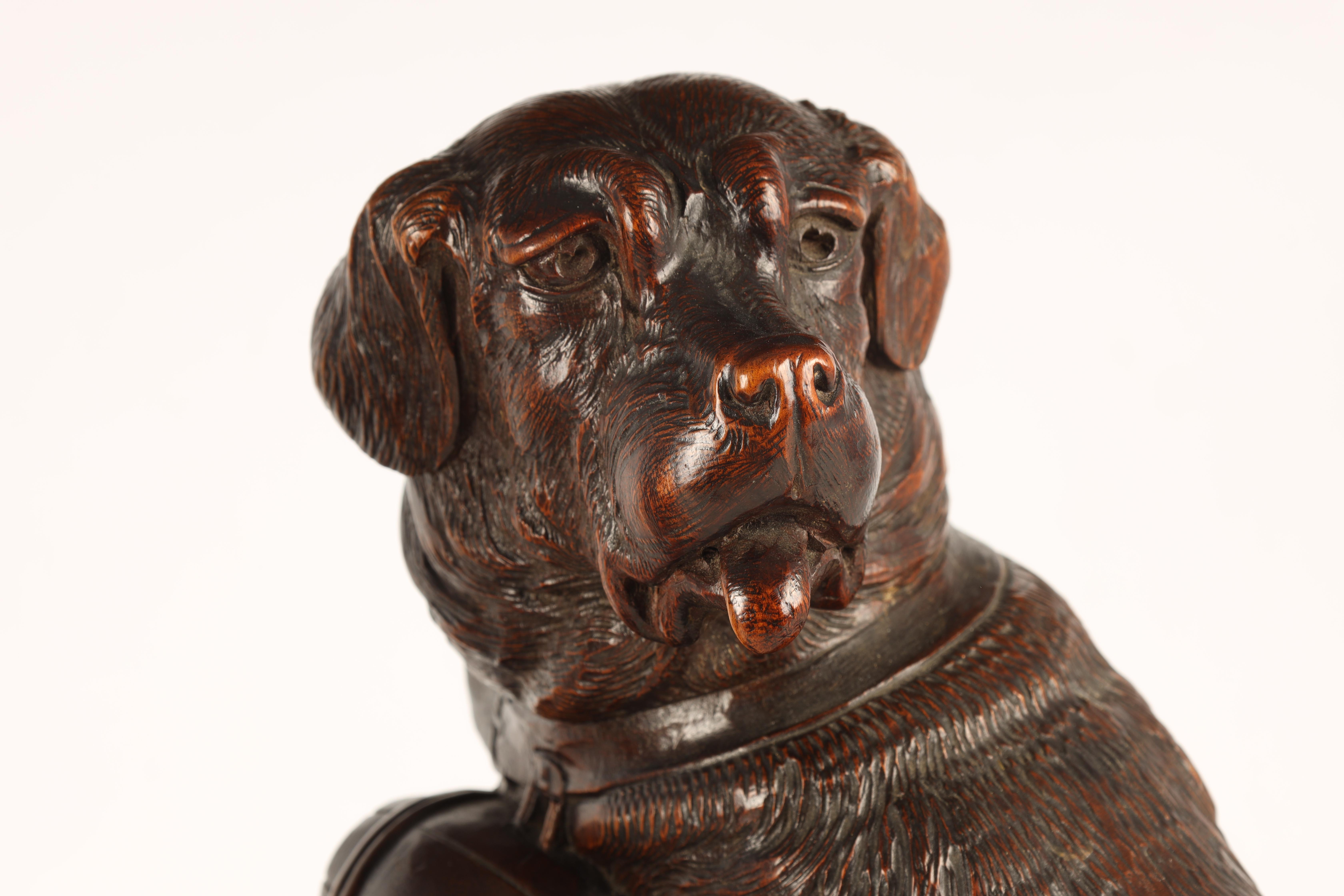 A GOOD QUALITY PAIR OF LATE 19TH CENTURY BLACK FOREST CARVED SCULPTURES modelled as Saint Bernards - Image 3 of 6
