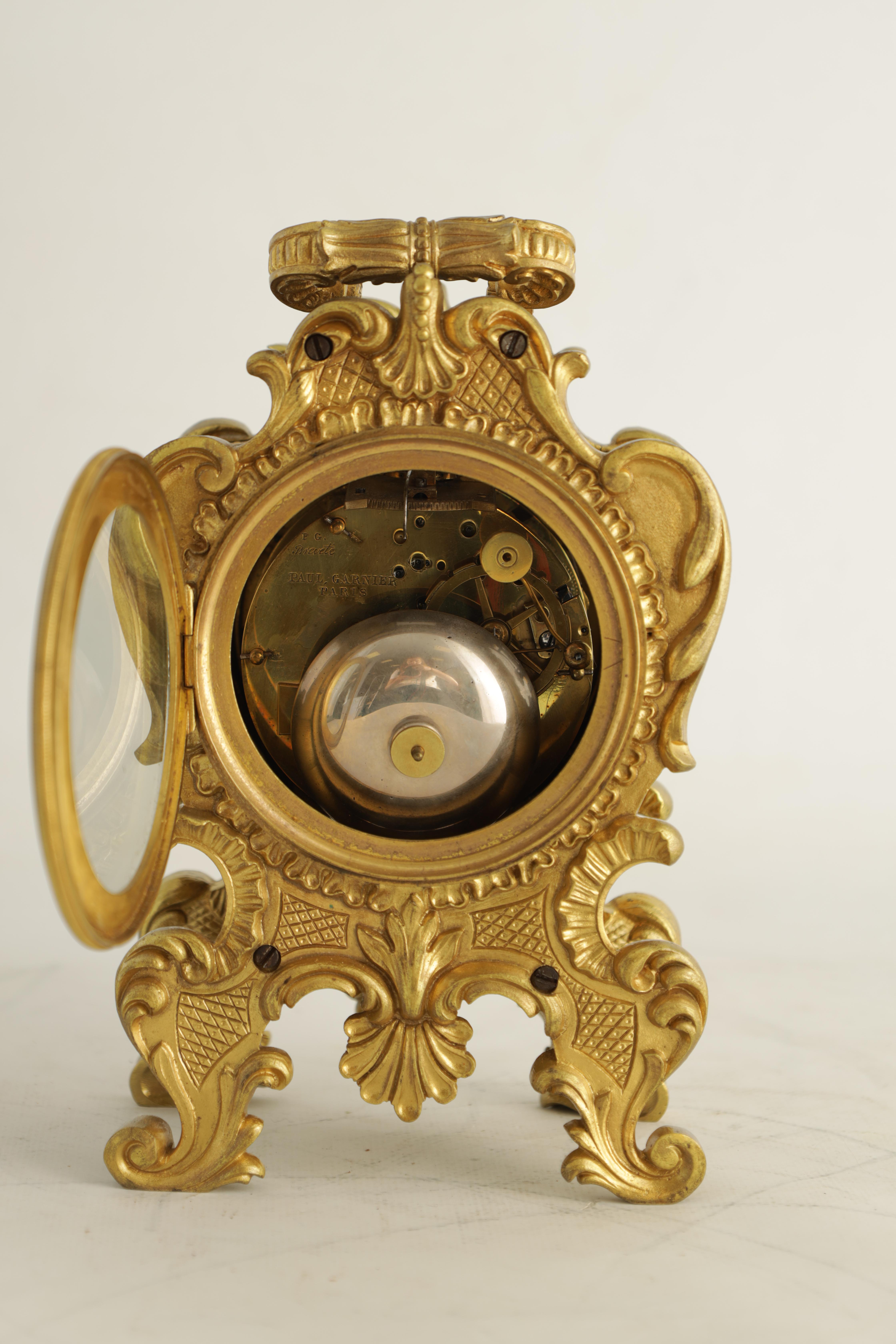 PAUL GARNIER, PARIS A MID 19TH CENTURY FRENCH TRAVELLING MANTEL CLOCK the gilt bronze rococo style - Image 11 of 13