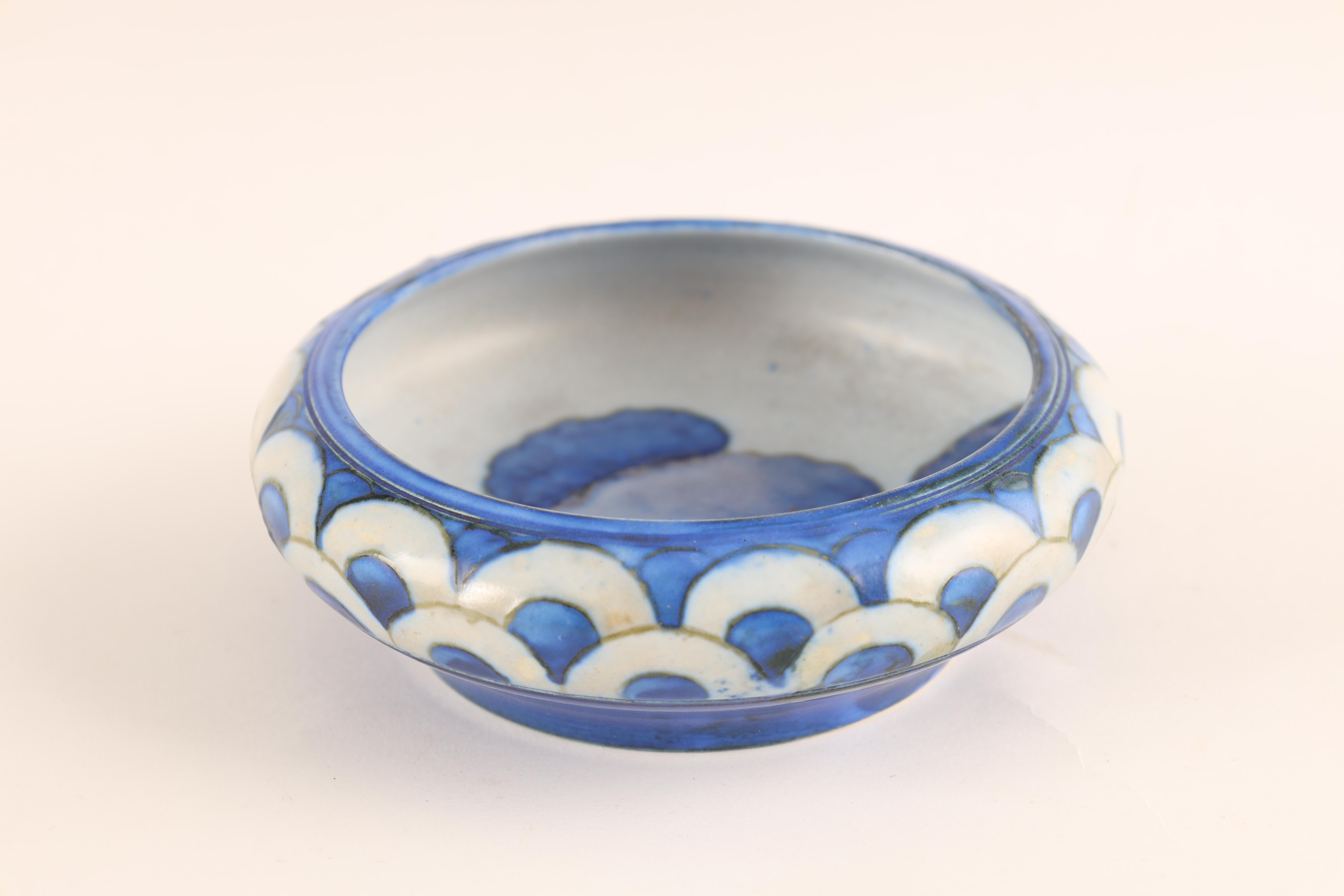 A MOORCROFT SMALL SHALLOW DISH WITH CURVED RIM decorated in the blue ground Dawn Landscape pattern - Image 3 of 5