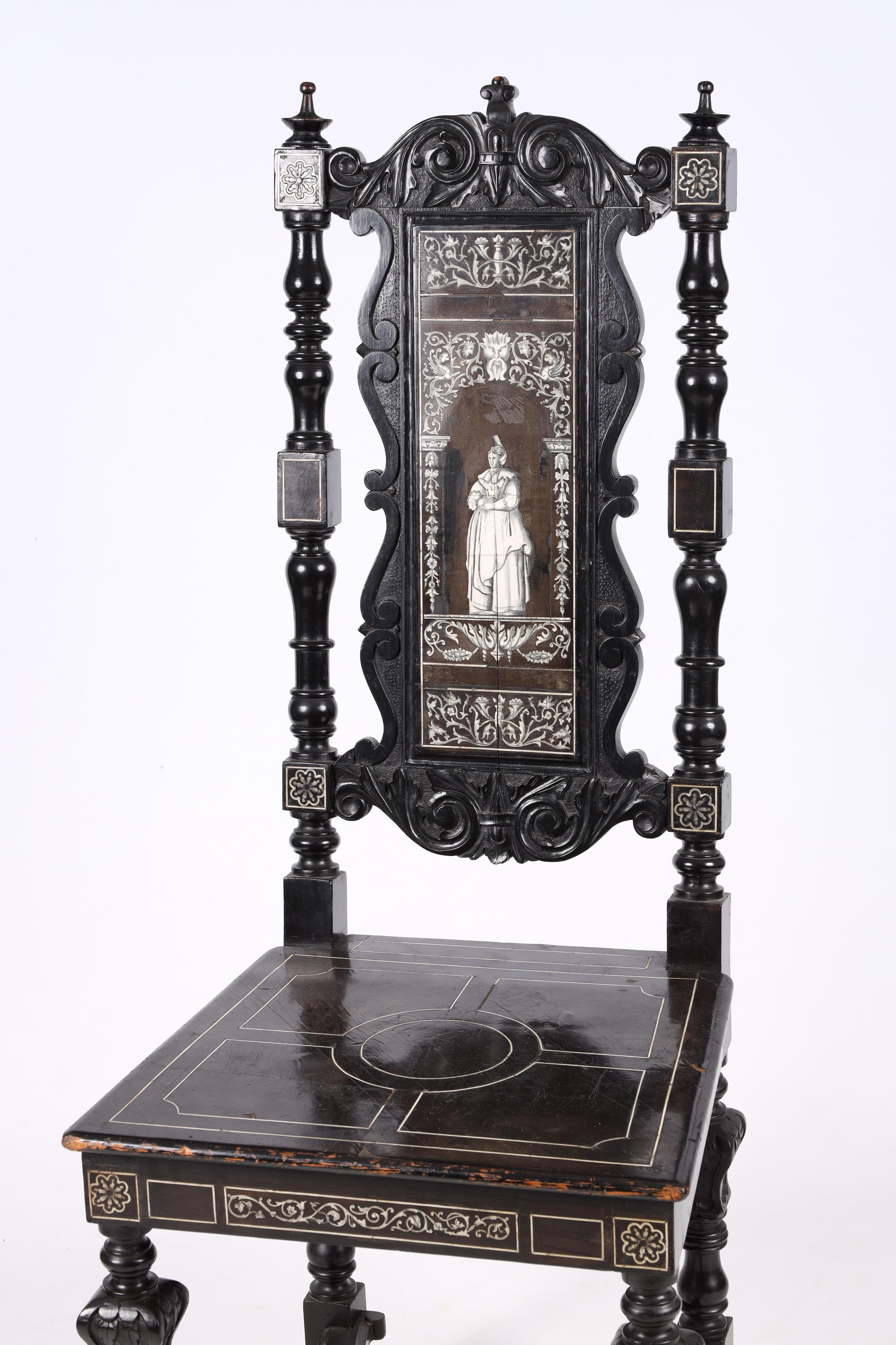 A PAIR OF LATE 19TH CENTURY EBONISED AND BONE INLAID ITALIAN SIDE CHAIRS with finely inlaid - Image 3 of 6