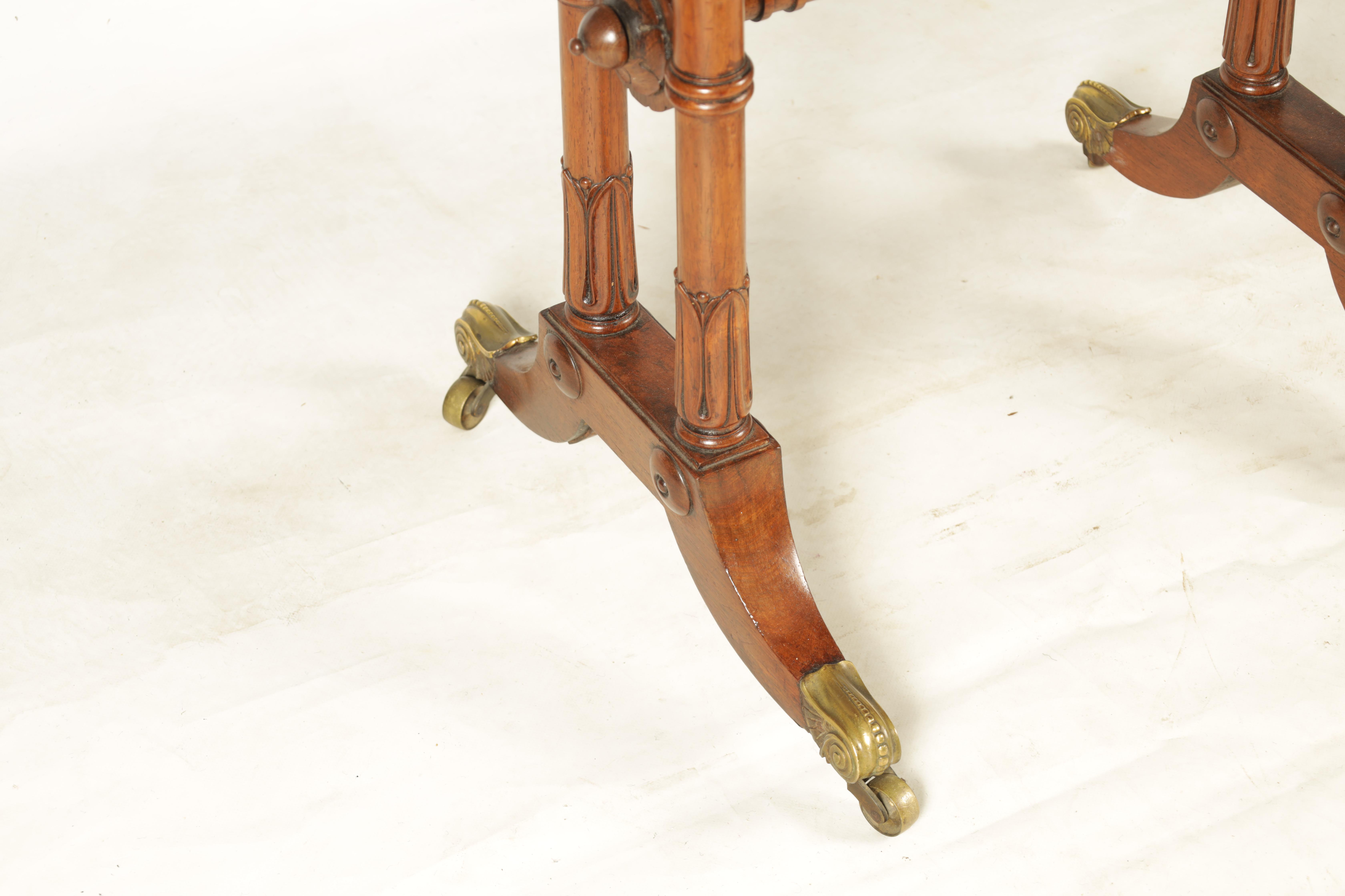 A REGENCY FIGURED ROSEWOOD CARD TABLE IN THE MANNER OF T & G SEDDON with revolving top revealing a - Image 2 of 9