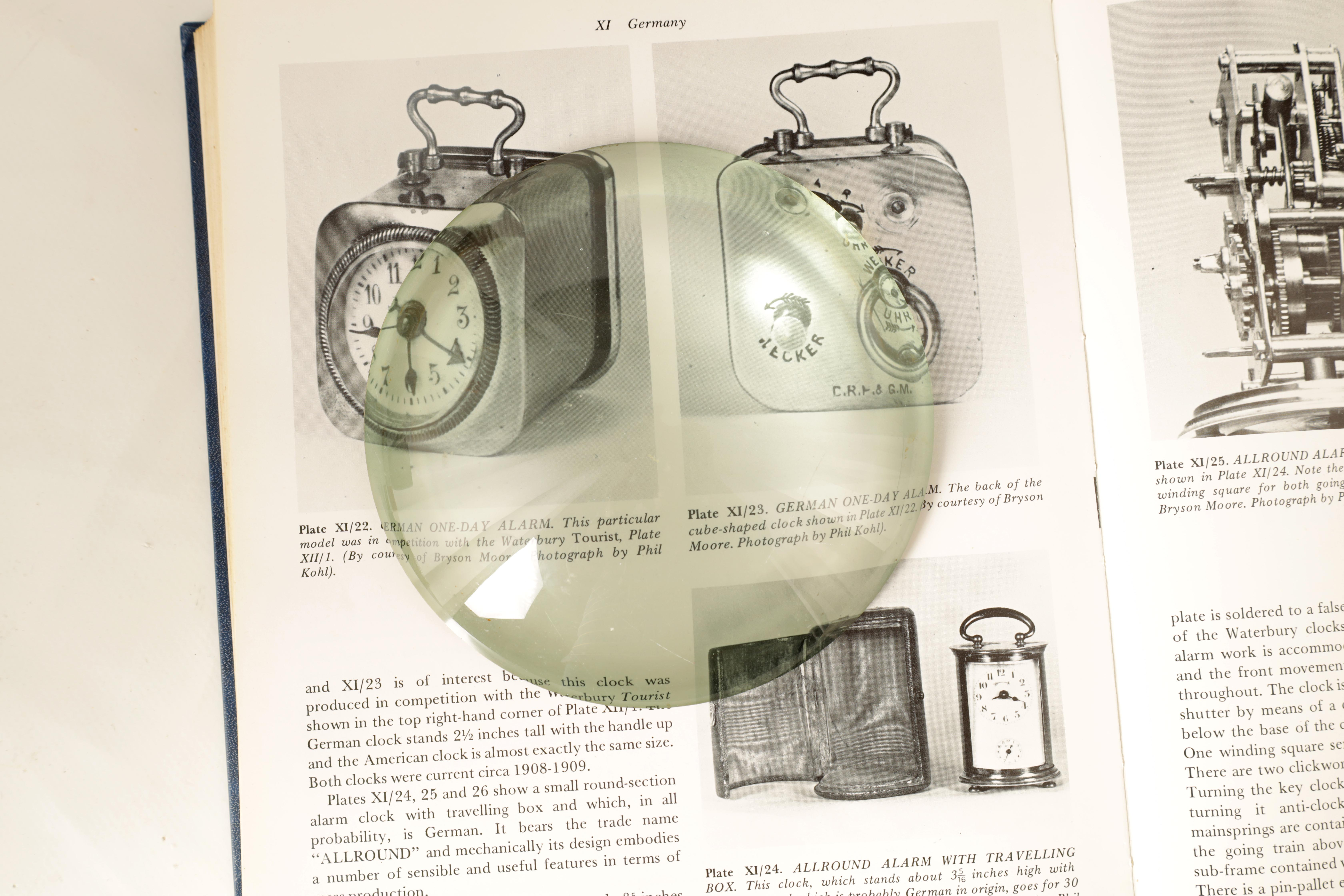TWO MAGNIFYING LENSES including a large circular and square examples TOGETHER WITH A BOX OF CLOCK - Image 2 of 11