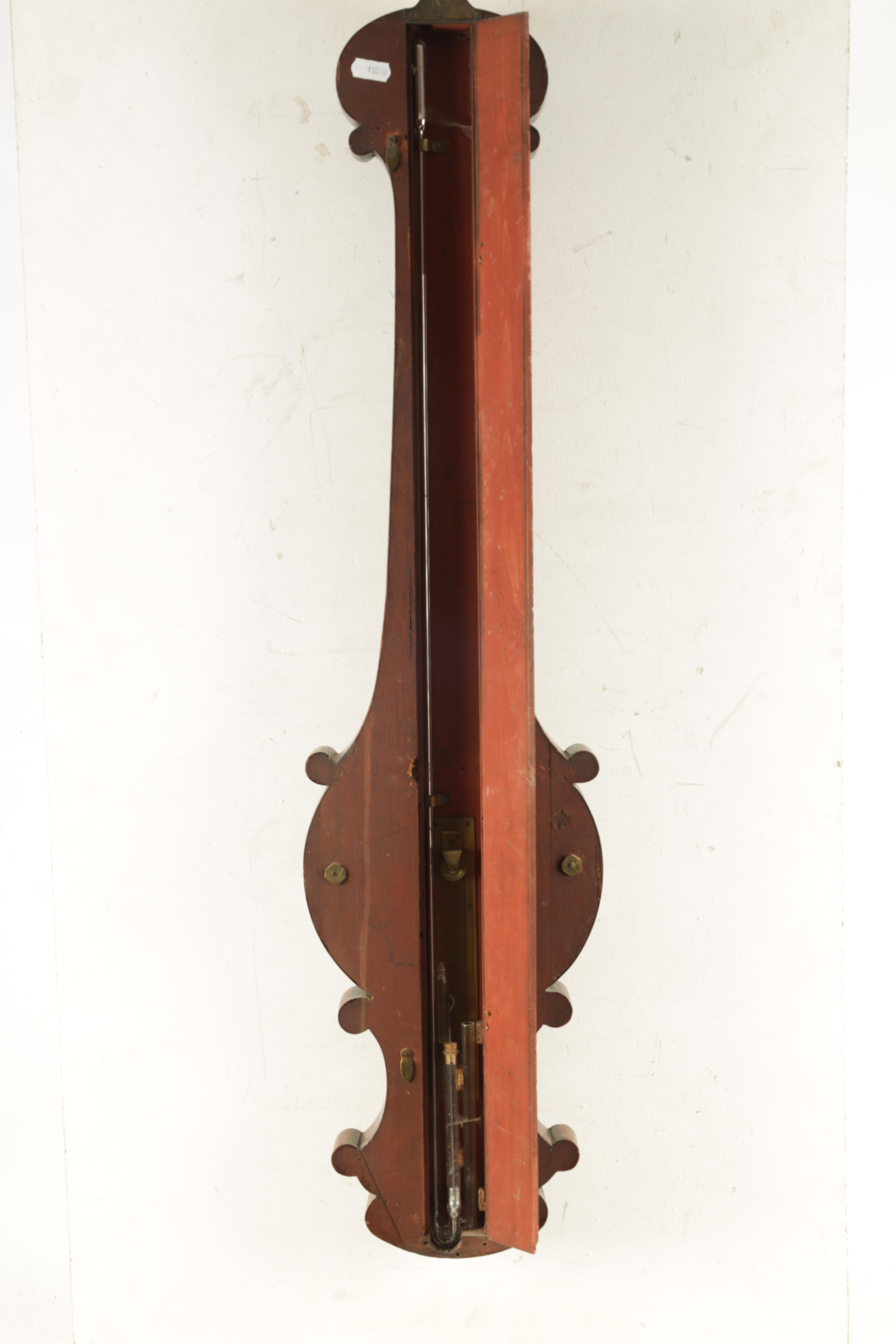 """ADIE AND SON. EDINBURGH A SMALL 19TH CENTURY 6"""" DIAL FIGURED MAHOGANY WHEEL BAROMETER the case - Image 4 of 4"""