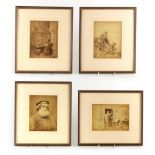 A SET OF FOUR LATE 19TH CENTURY SEPIA PHOTOGRAPHS OF WHITBY BY FRANCIS FRITH 14.5cm high 20cm wide