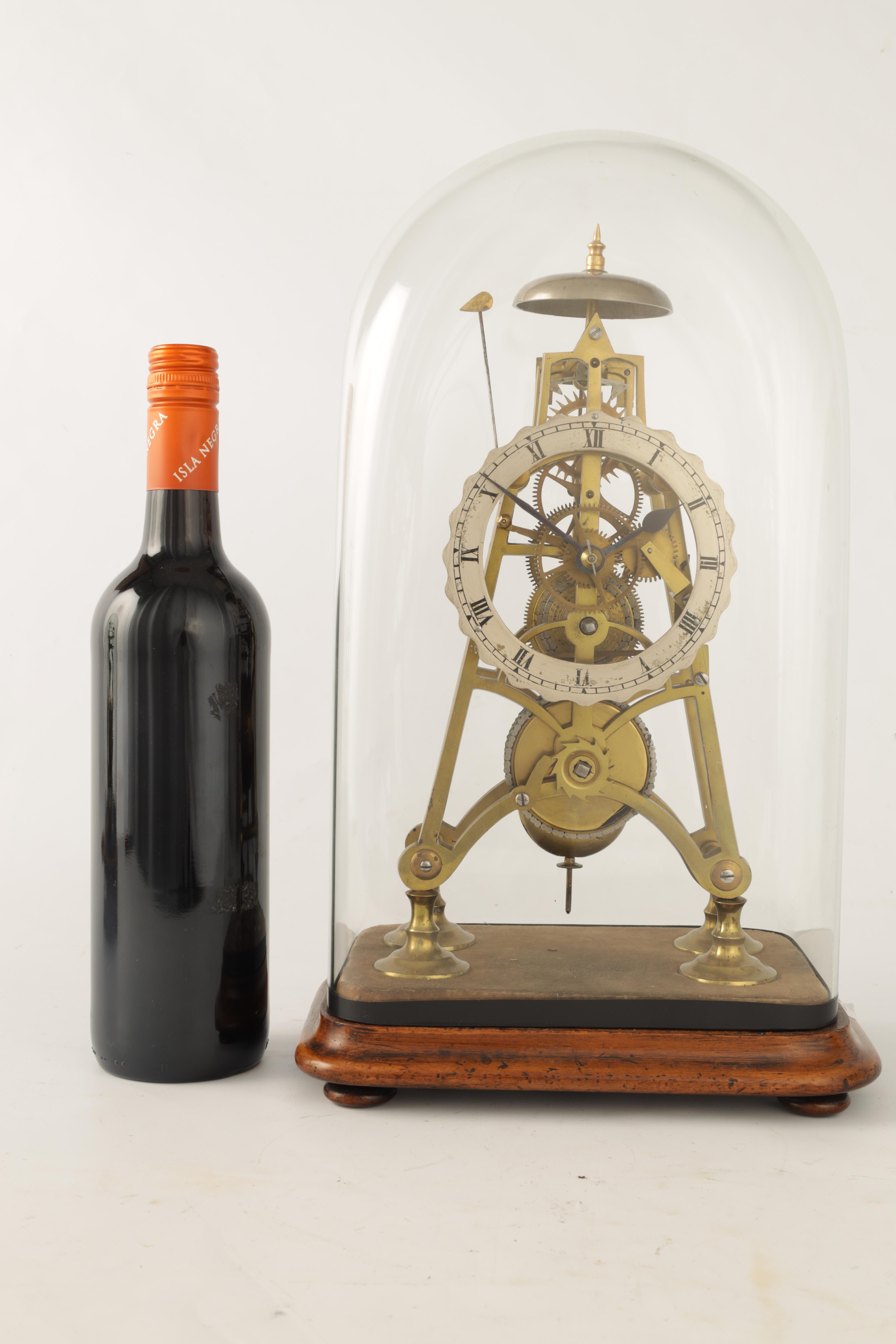 A 19TH CENTURY 8-DAY FUSEE TIMEPIECE SKELETON CLOCK with passing hour bell strike, tapering plates - Image 3 of 6