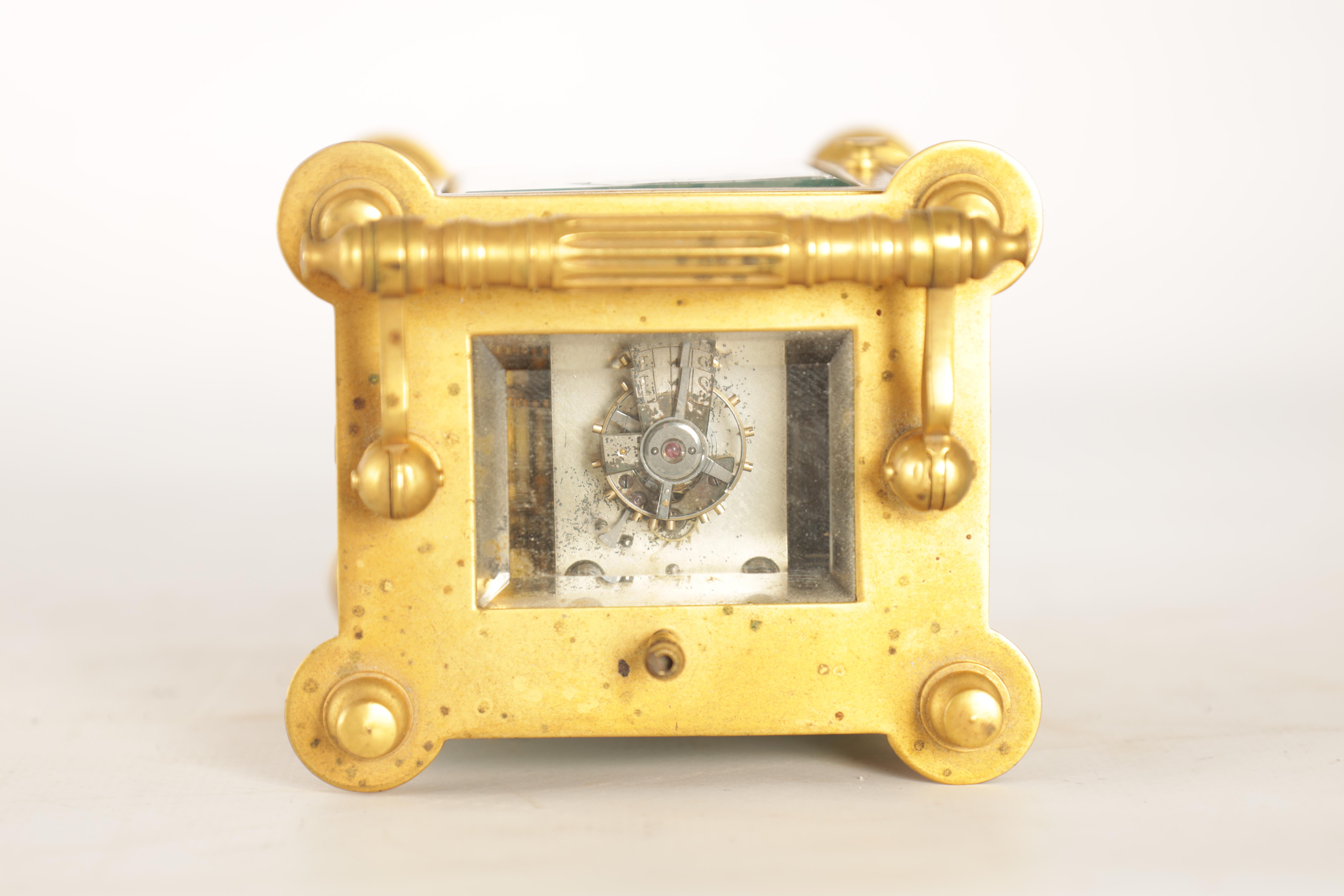 A LATE 19TH CENTURY FRENCH BRASS CARRIAGE CLOCK WITH CALENDAR the gilt case with pierced frieze - Image 3 of 6