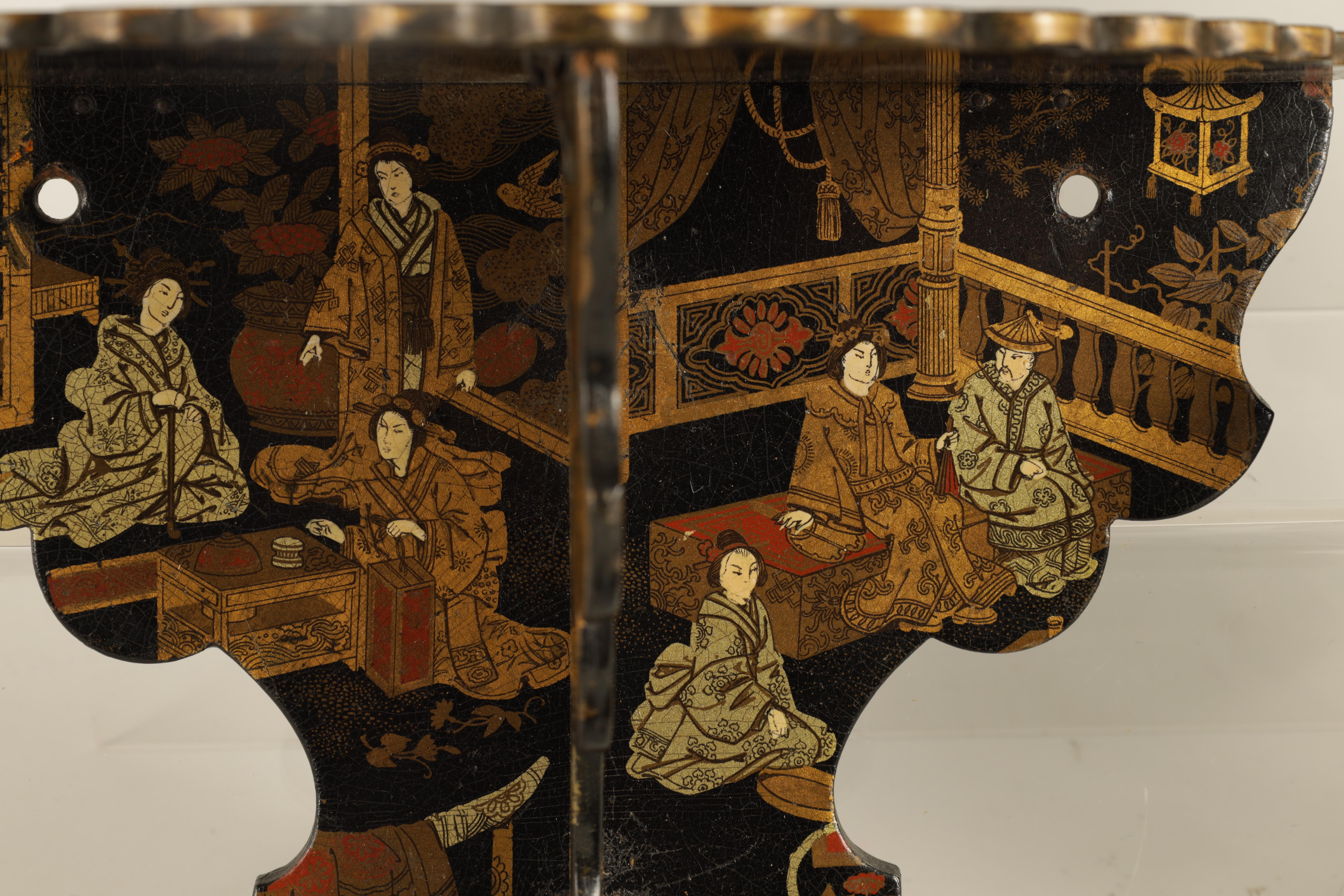 A GROUP OF THREE LATE 19TH CENTURY JAPANESE BLACK LACQUER FOLDING HANGING BRACKETS of shaped form - Image 9 of 12