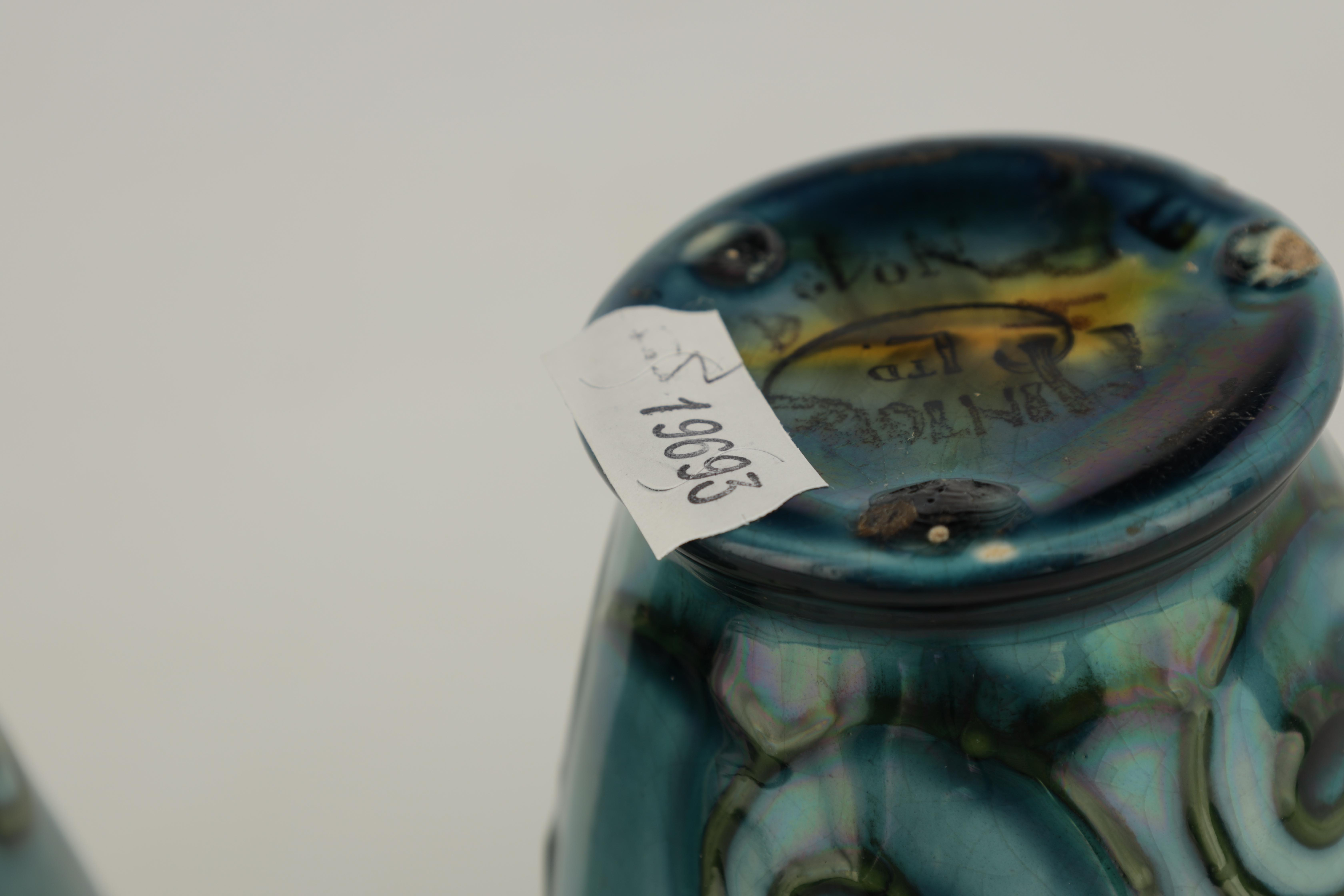 A PAIR OF MINTON LTD SECESSIONIST WARE TAPERING BEAKER VASES tube lined and decorated with - Image 6 of 6