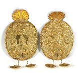 A RARE PAIR OF LATE 17TH / EARLY 18TH CENTURY OVAL REPOUSSE AND CHASED GILT BRASS GIRANDOLES having