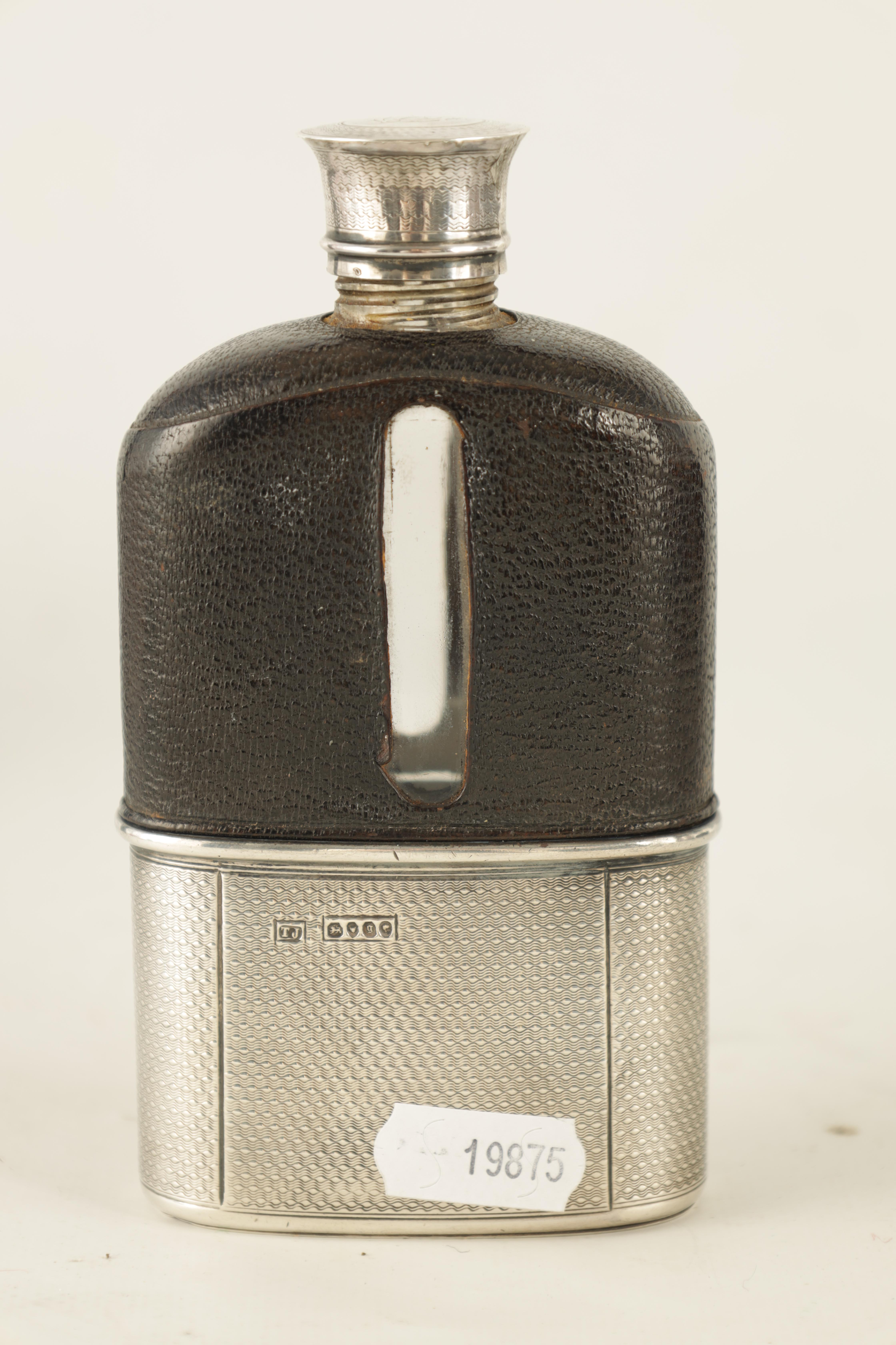A VICTORIAN SILVER AND MOROCCAN LEATHER HIP FLASK RETAILED BY ASPREY 186 BOND STREET with engine- - Image 6 of 8