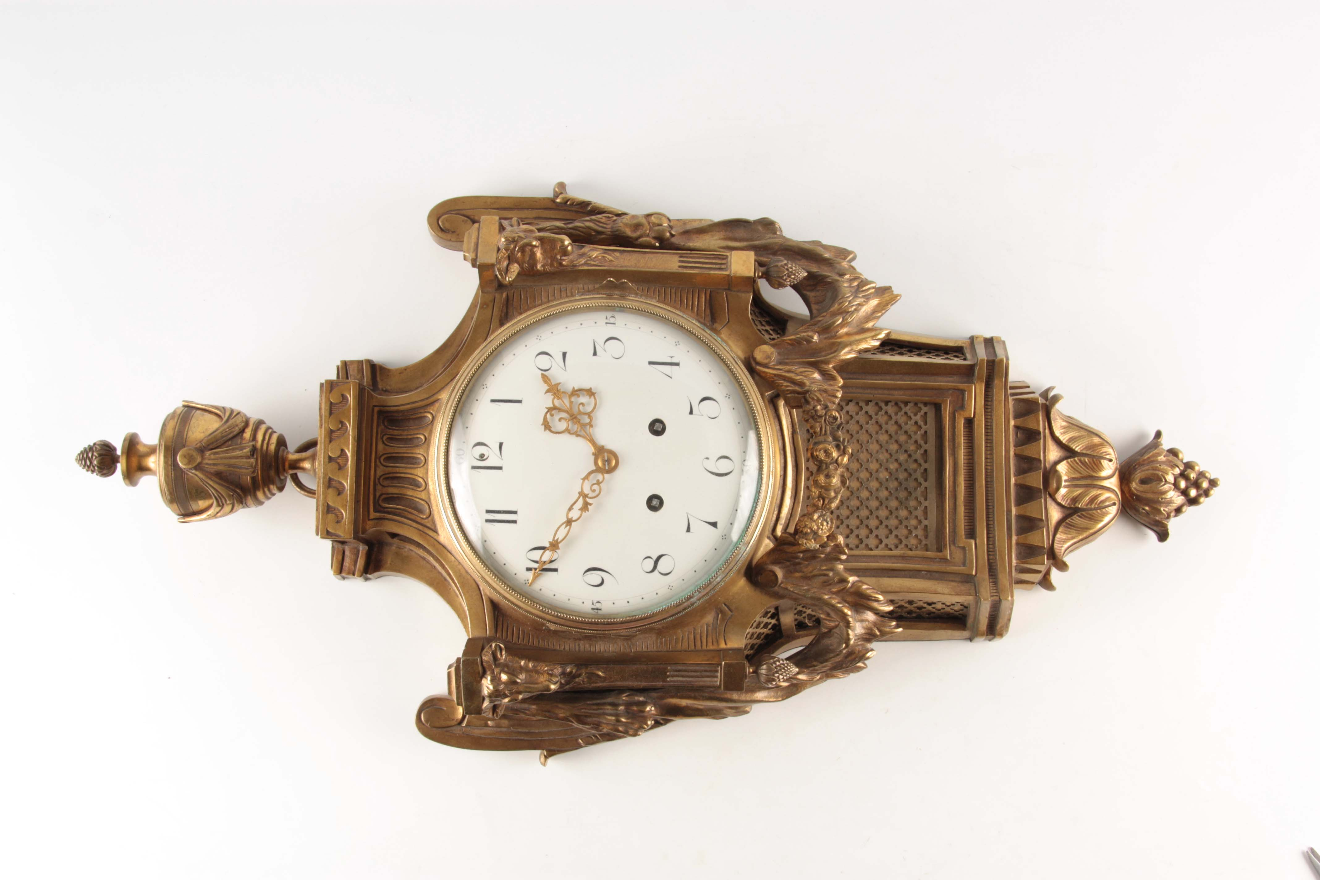 A LATE 19TH CENTURY FRENCH GILT BRASS CARTEL CLOCK with large urn finial and rams head decoration - Image 3 of 4