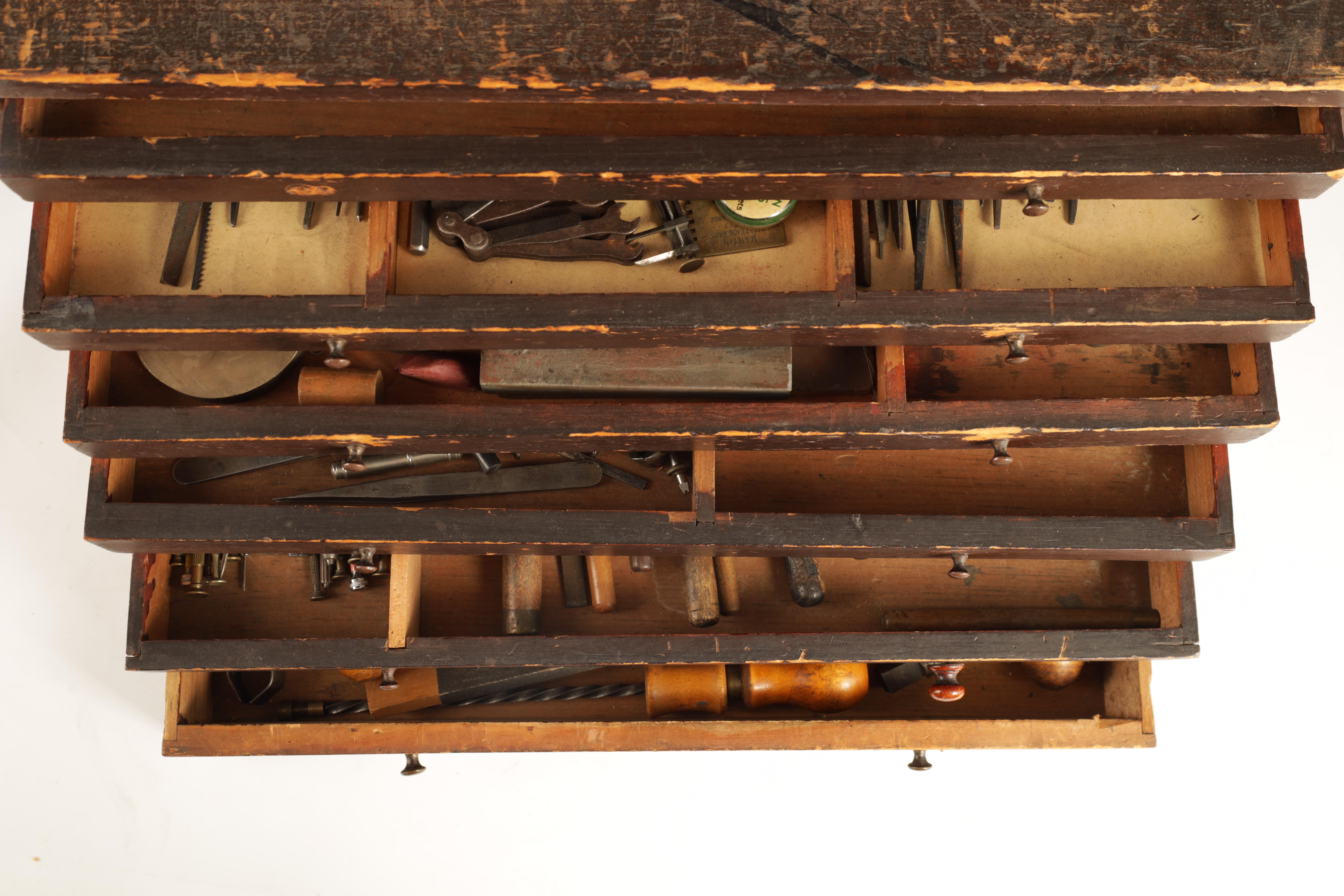 A LARGE COLLECTION OF JEWELERS AND WATCHMAKERS TOOLS contained in a set of pine drawers - Image 4 of 12