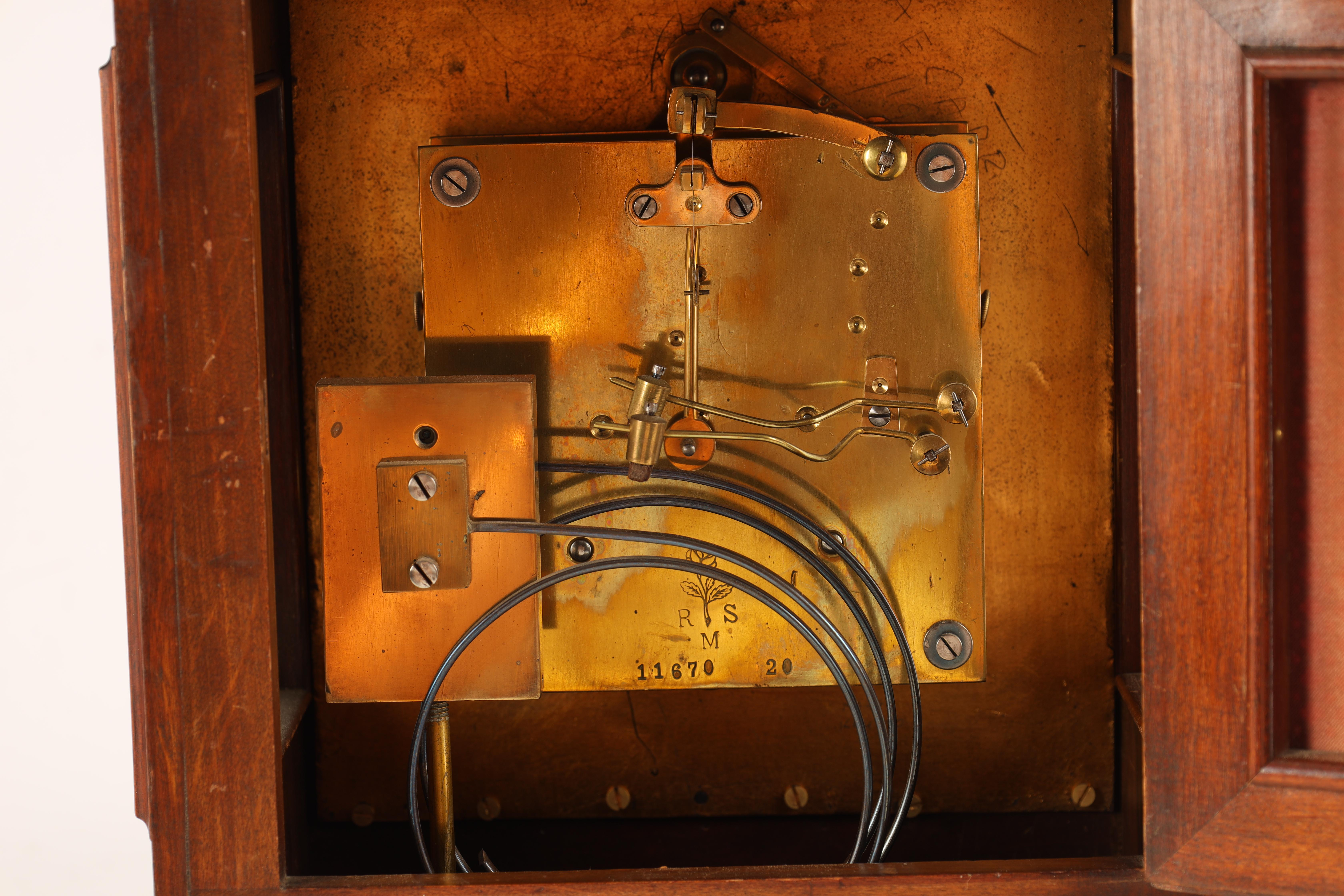 """A LATE 19TH CENTURY GERMAN WALNUT ORMOLU MOUNTED BRACKET CLOCK the 6.5"""" square brass dial with - Image 7 of 8"""