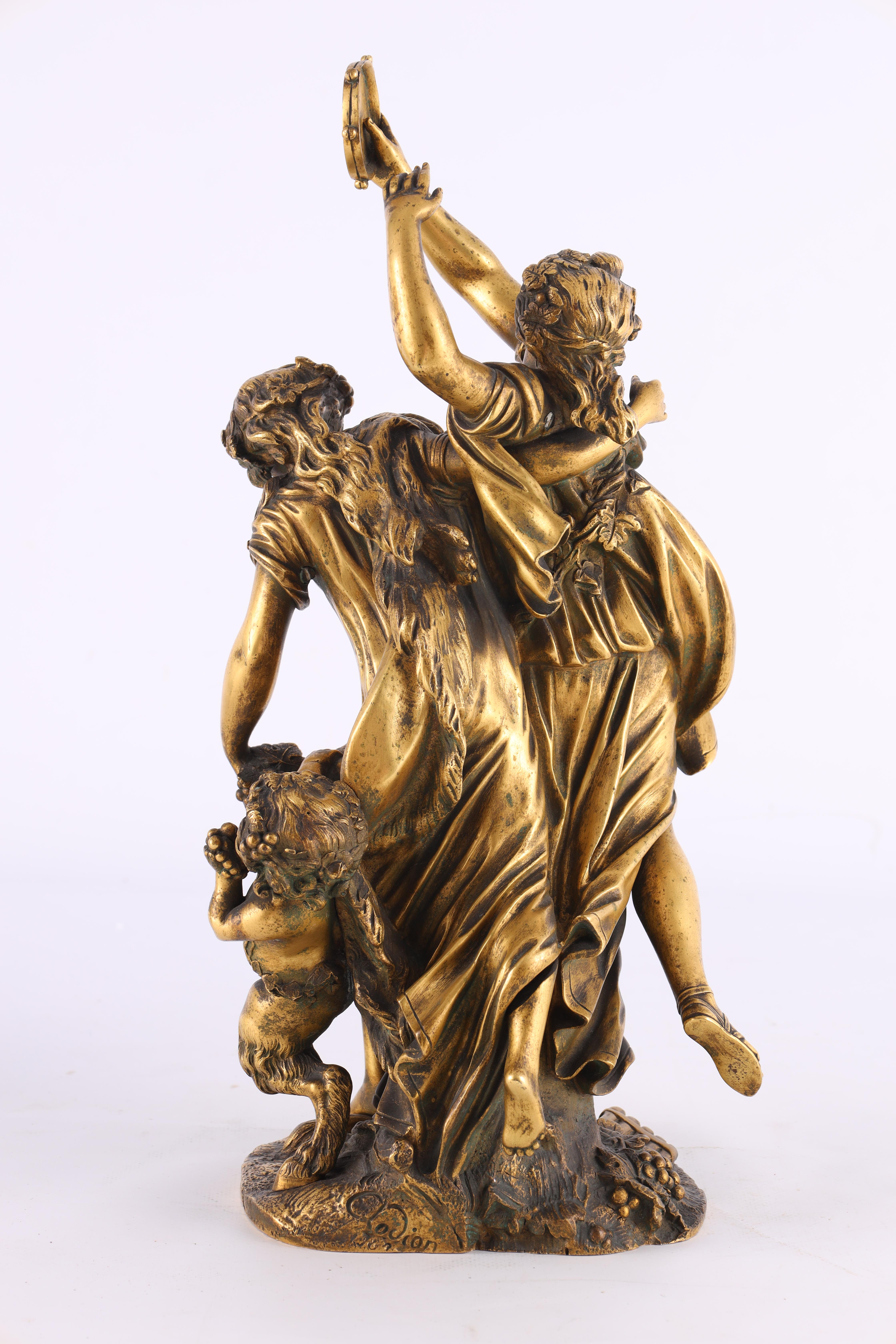 AFTER MICHAEL CLAUDE CLODION A LATE 19TH CENTURY FRENCH GILT BRONZE SCULPTURE titled 'Bacchanalia' - Image 4 of 10