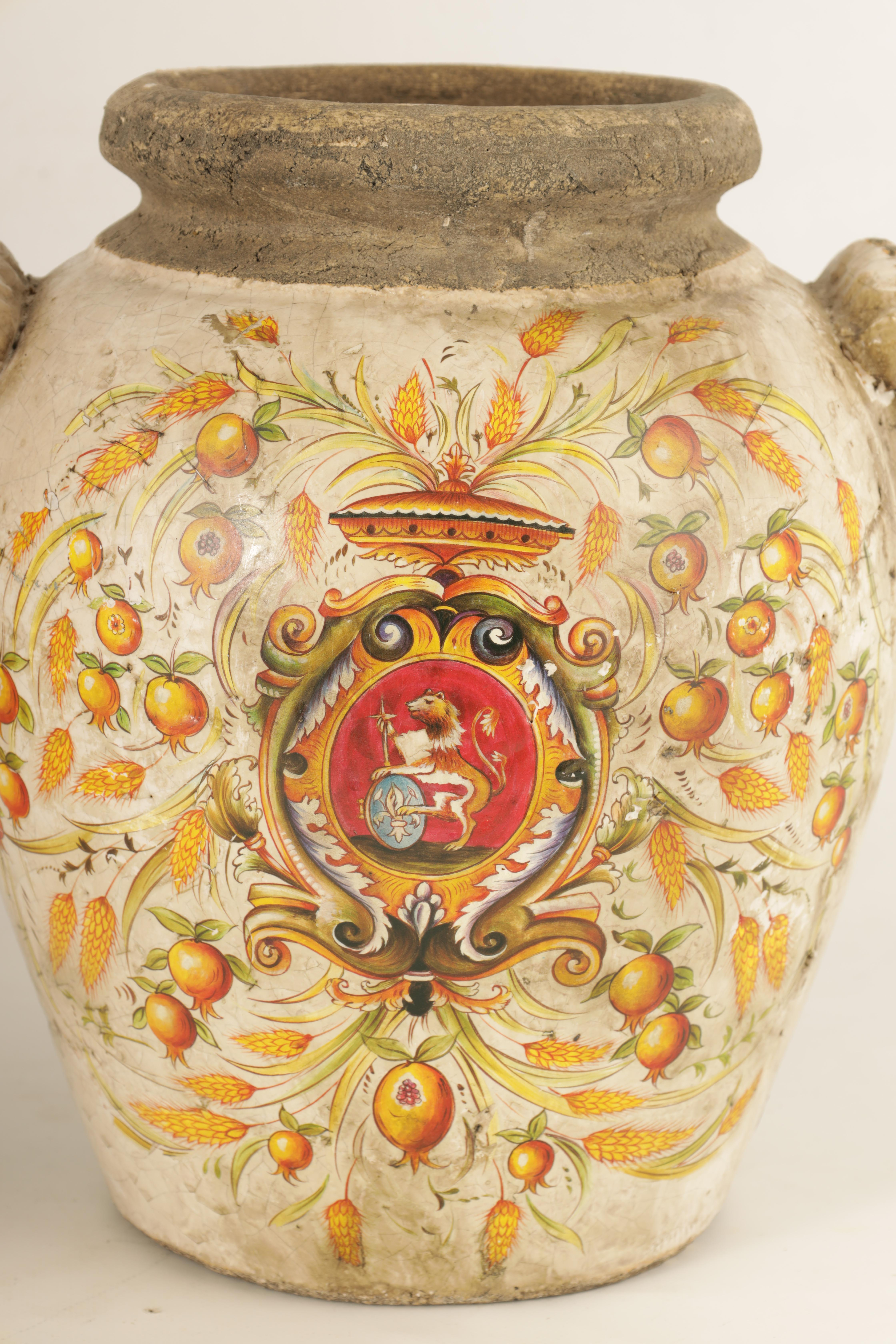 A PAIR OF EARLY ITALIAN EARTHENWARE ARMORIAL VASES with lion mask handles and painted armorials - Image 3 of 8