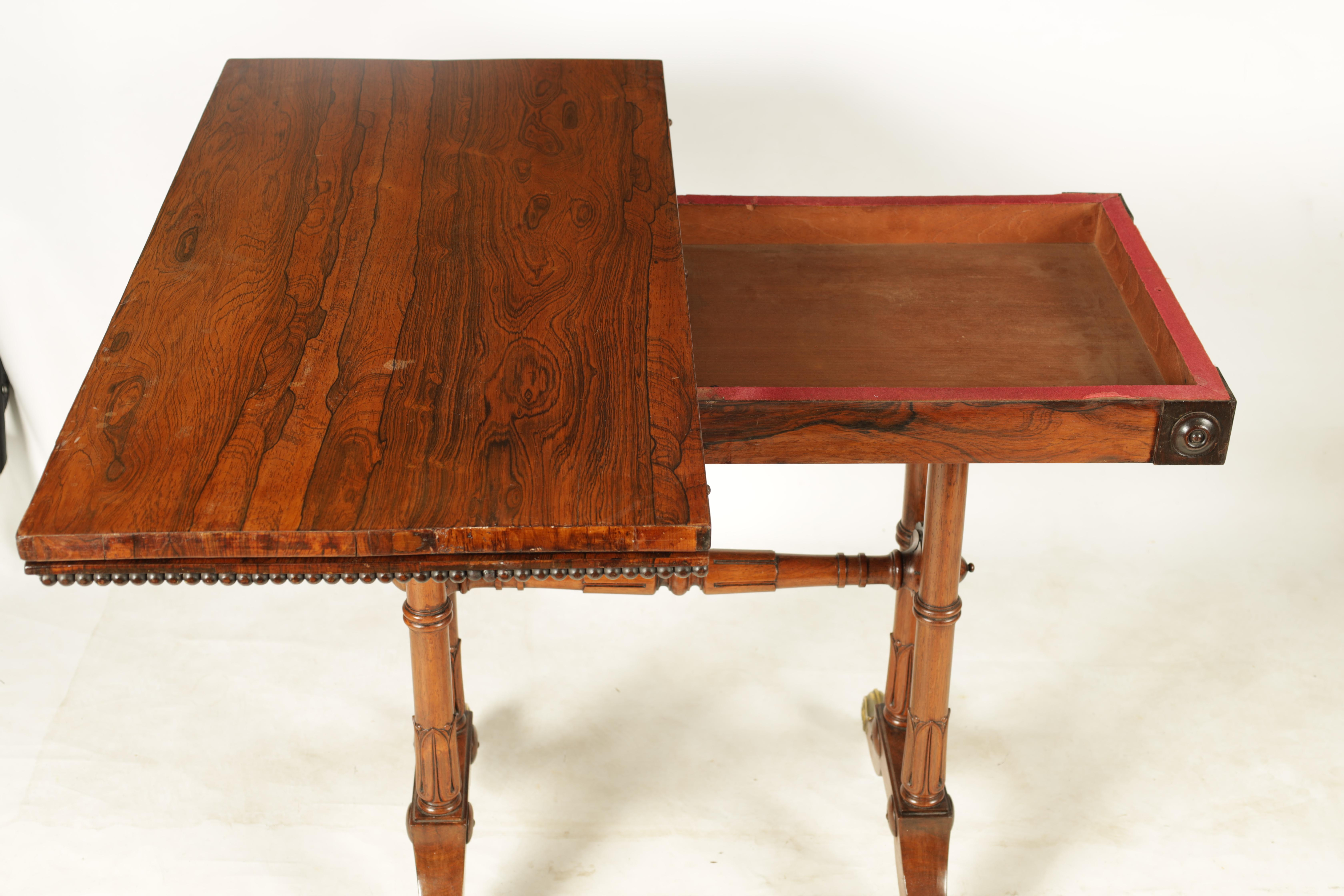 A REGENCY FIGURED ROSEWOOD CARD TABLE IN THE MANNER OF T & G SEDDON with revolving top revealing a - Image 8 of 9