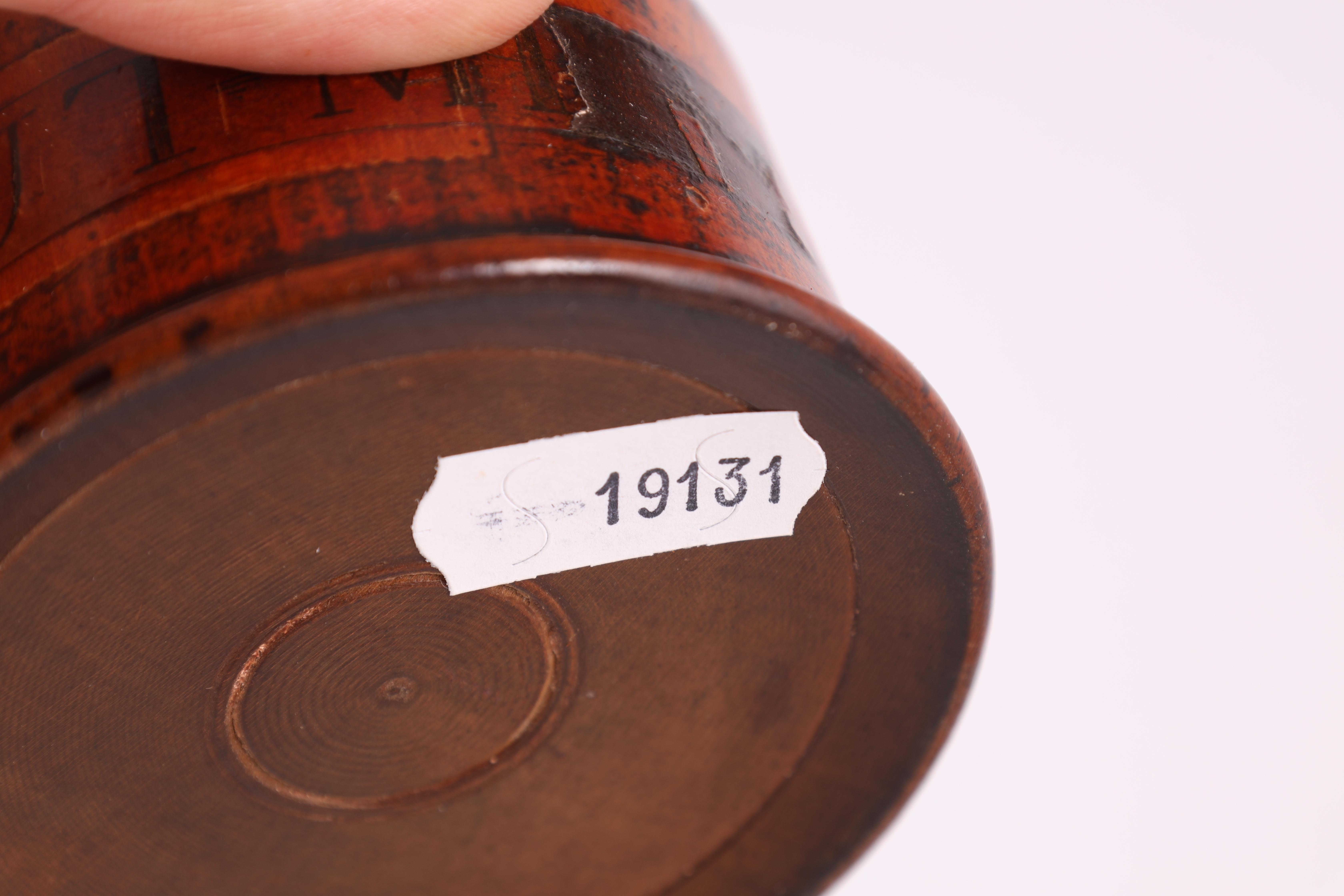 TWO EARLY 19TH CENTURY SYCAMORE TREEN SPICE TOWERS with original labels, the three stack 15cm - Image 6 of 13