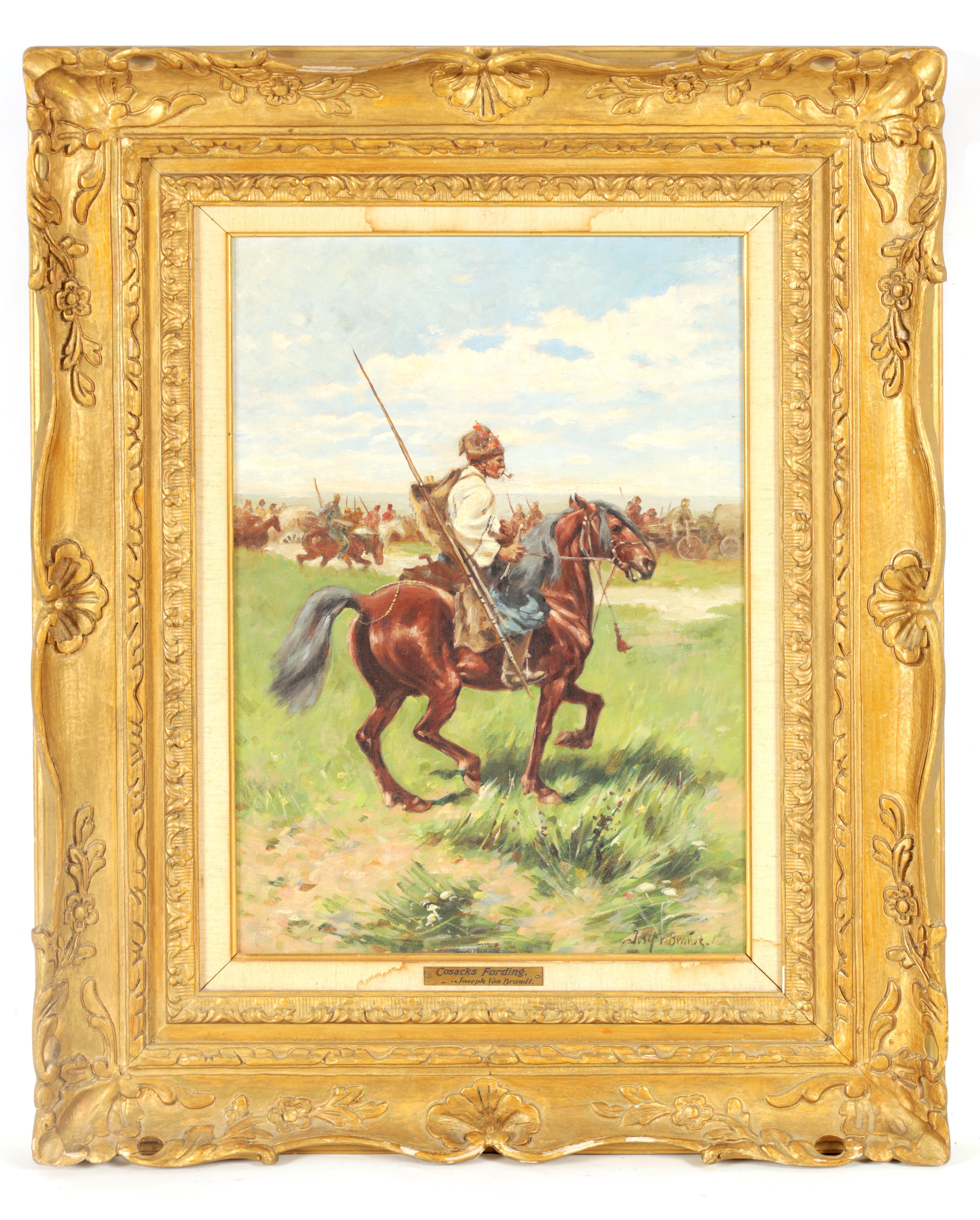 JOSEF VON BRANDT. POLISH, 1841-1928 OIL ON CANVAS Cossacks fording 49.5cm high, 33.5cm wide - signed