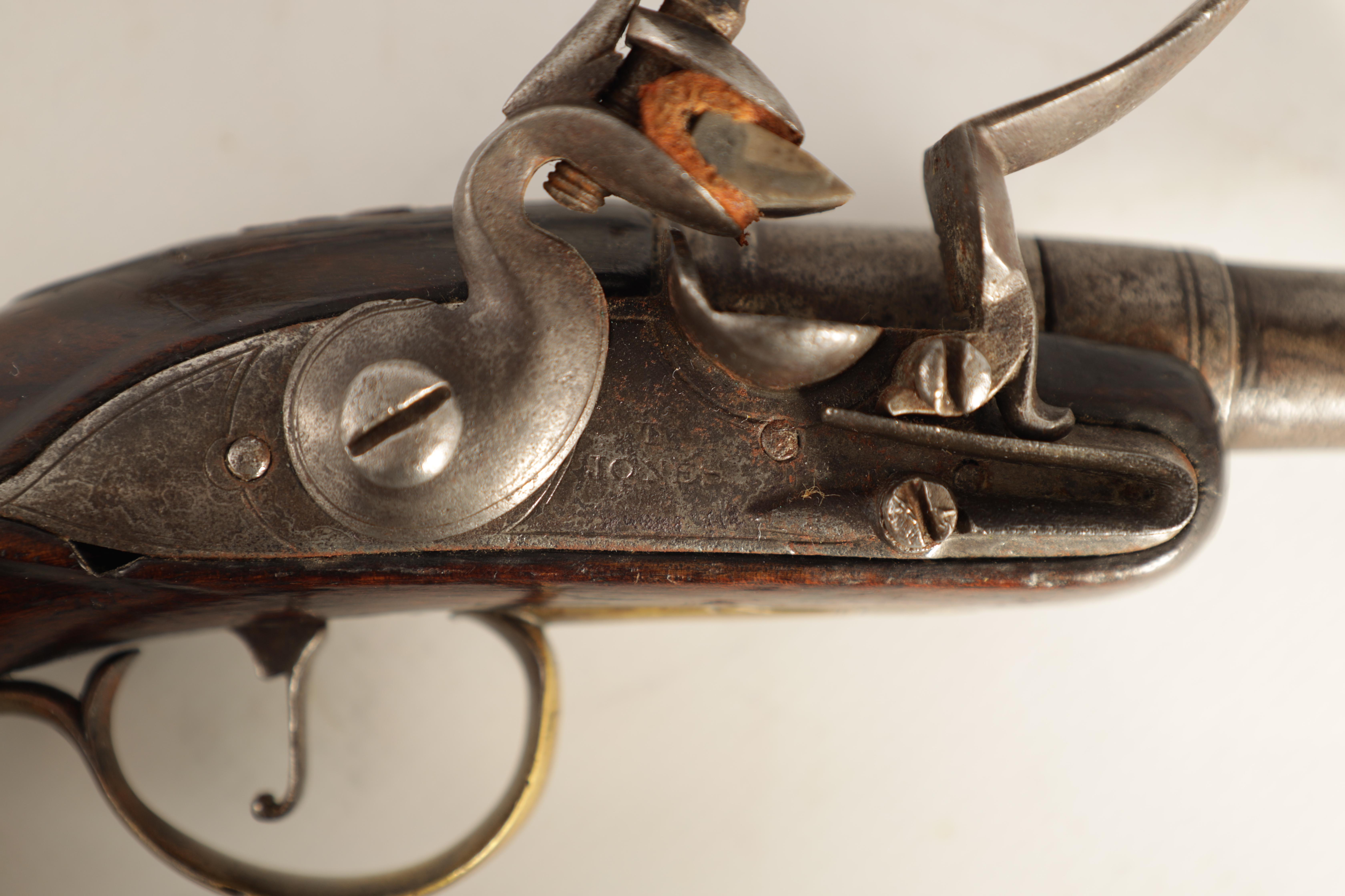 T. JONES. A PAIR OF EARLY 18TH CENTURY FLINTLOCK POCKET PISTOLS with turn-off cannon barrel, - Image 4 of 14