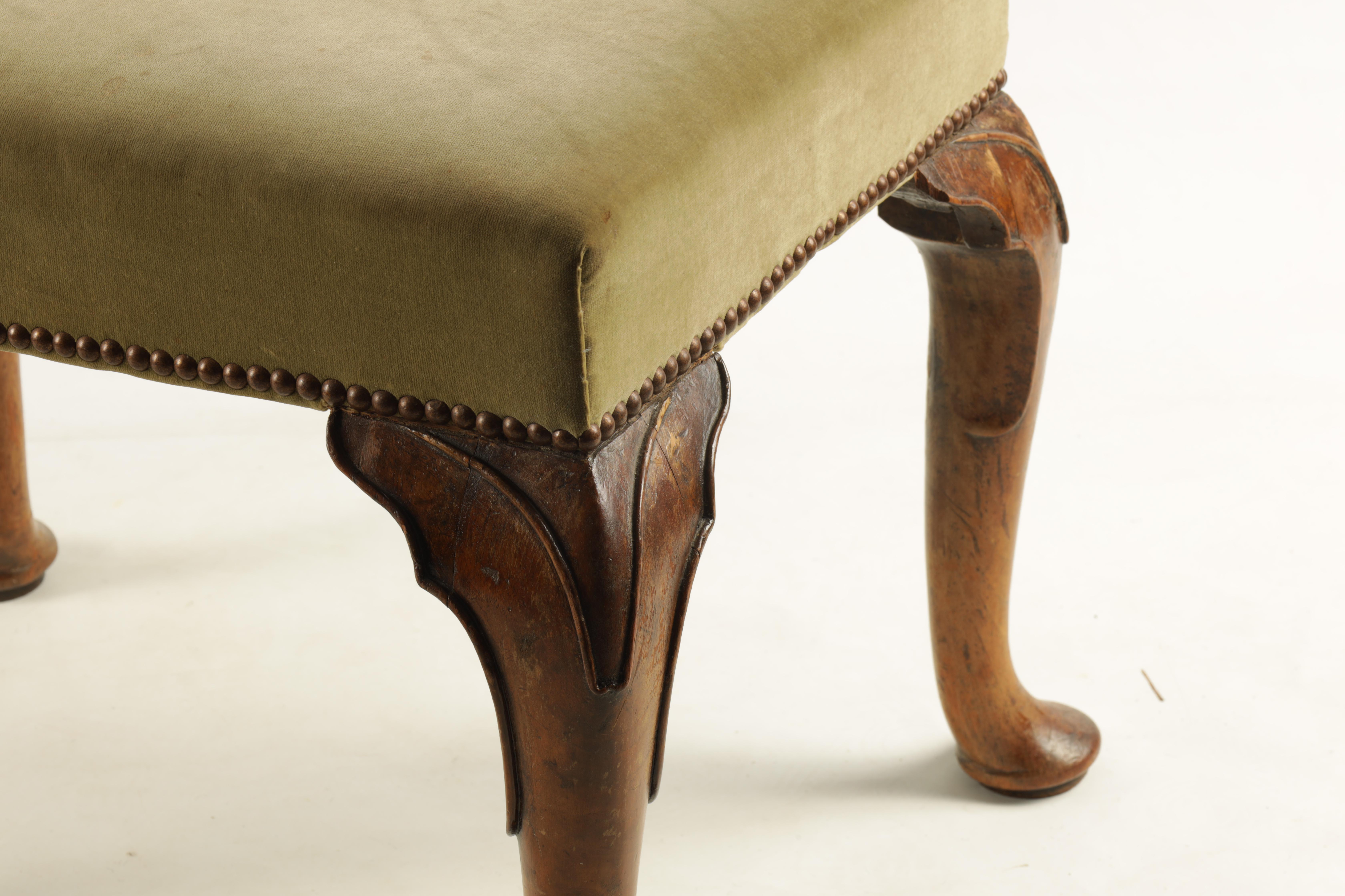 A GEORGE II WALNUT STOOL with upholstered top raised on cabriole legs with pad feet 60cm wide 45cm - Image 2 of 5