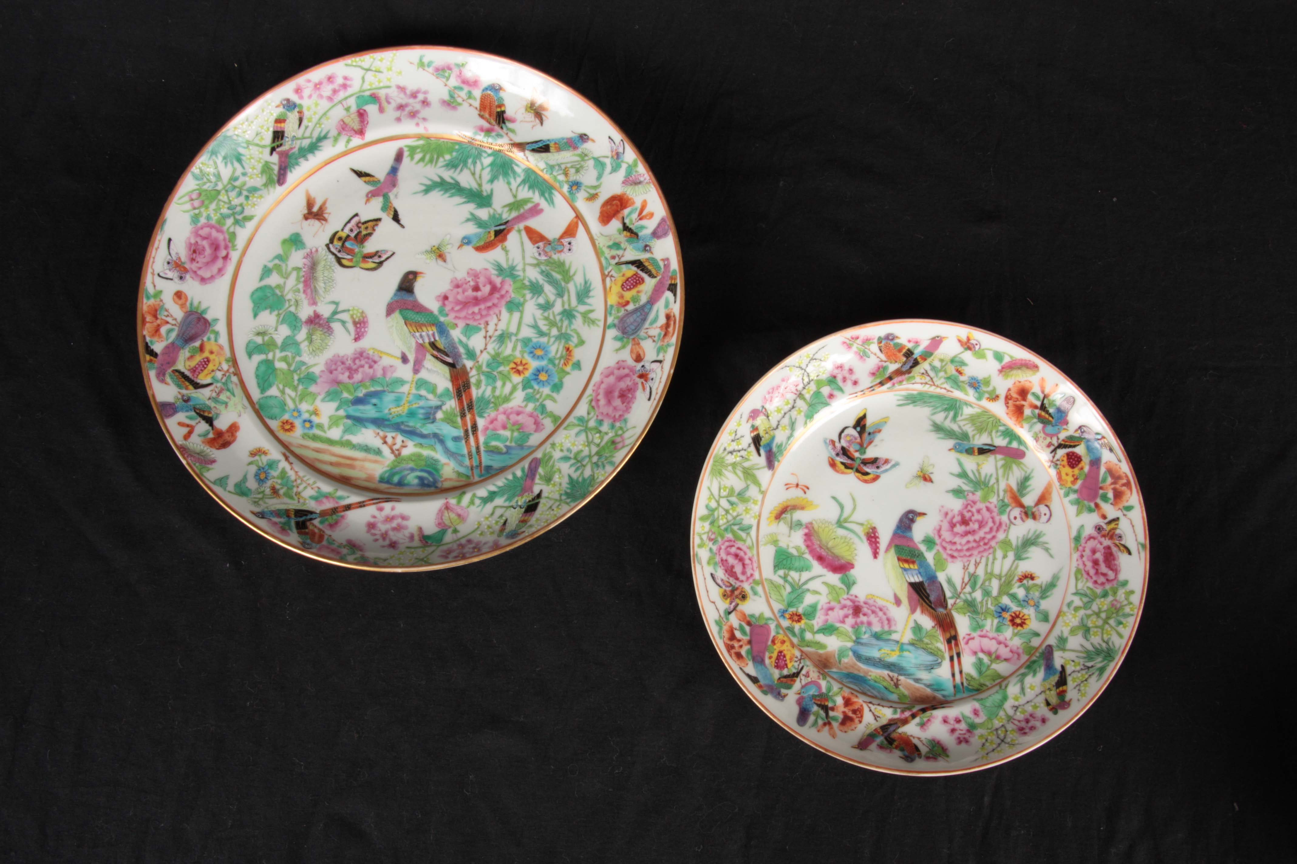 TWO FINE 19TH CENTURY CHINESE FAMILLE VERTE PORCELAIN PLATES decorated with brightly coloured