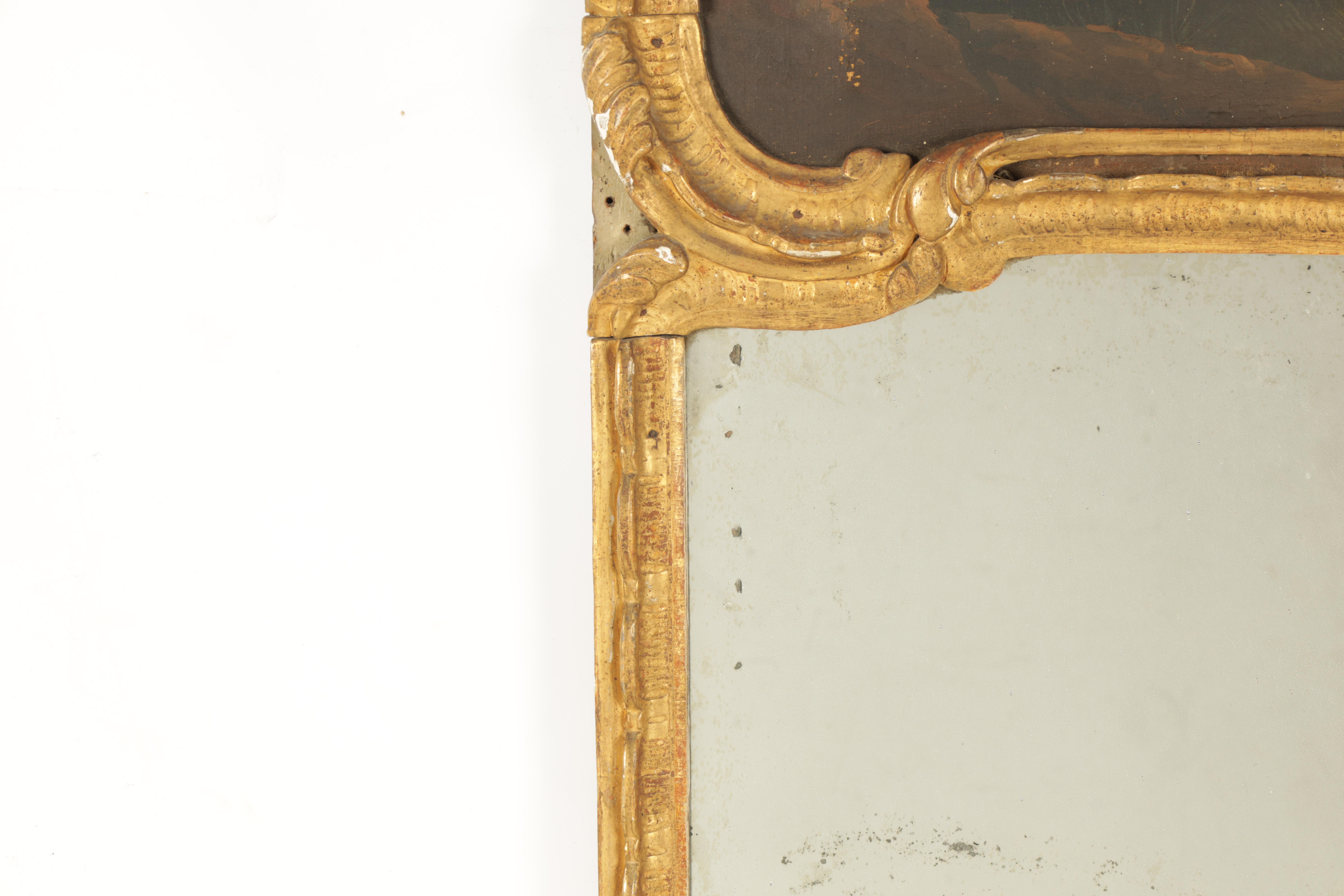 AN EARLY 18TH CENTURY CONTINENTAL GILTWOOD ROCOCO STYLE PIER MIRROR with leaf work carved frame - Image 3 of 5
