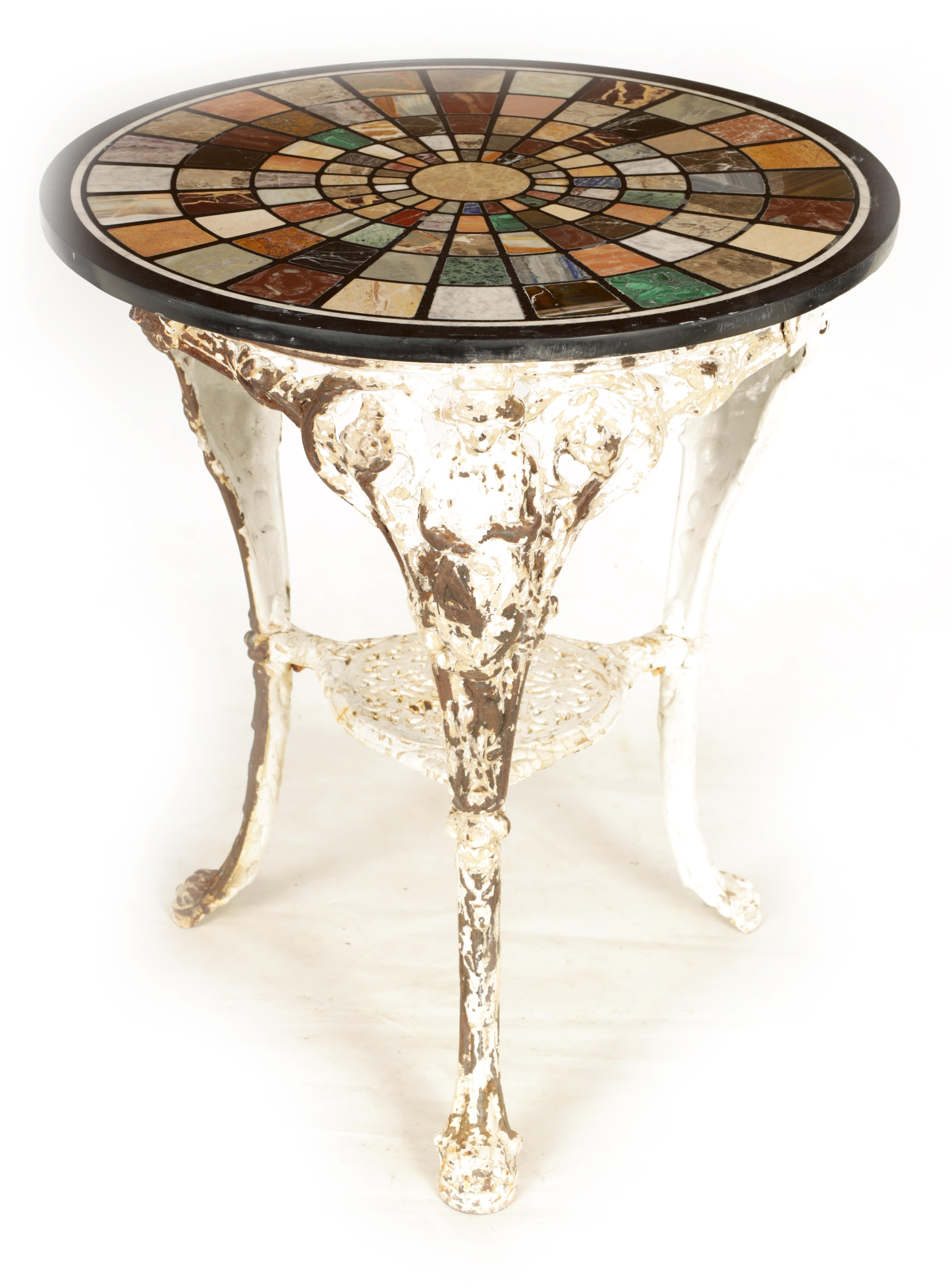 A 19TH CENTURY CAST IRON 'BRITTANIA' TABLE BASE WITH 20TH CENTURY SPECIMEN MARBLE TOP inlaid with