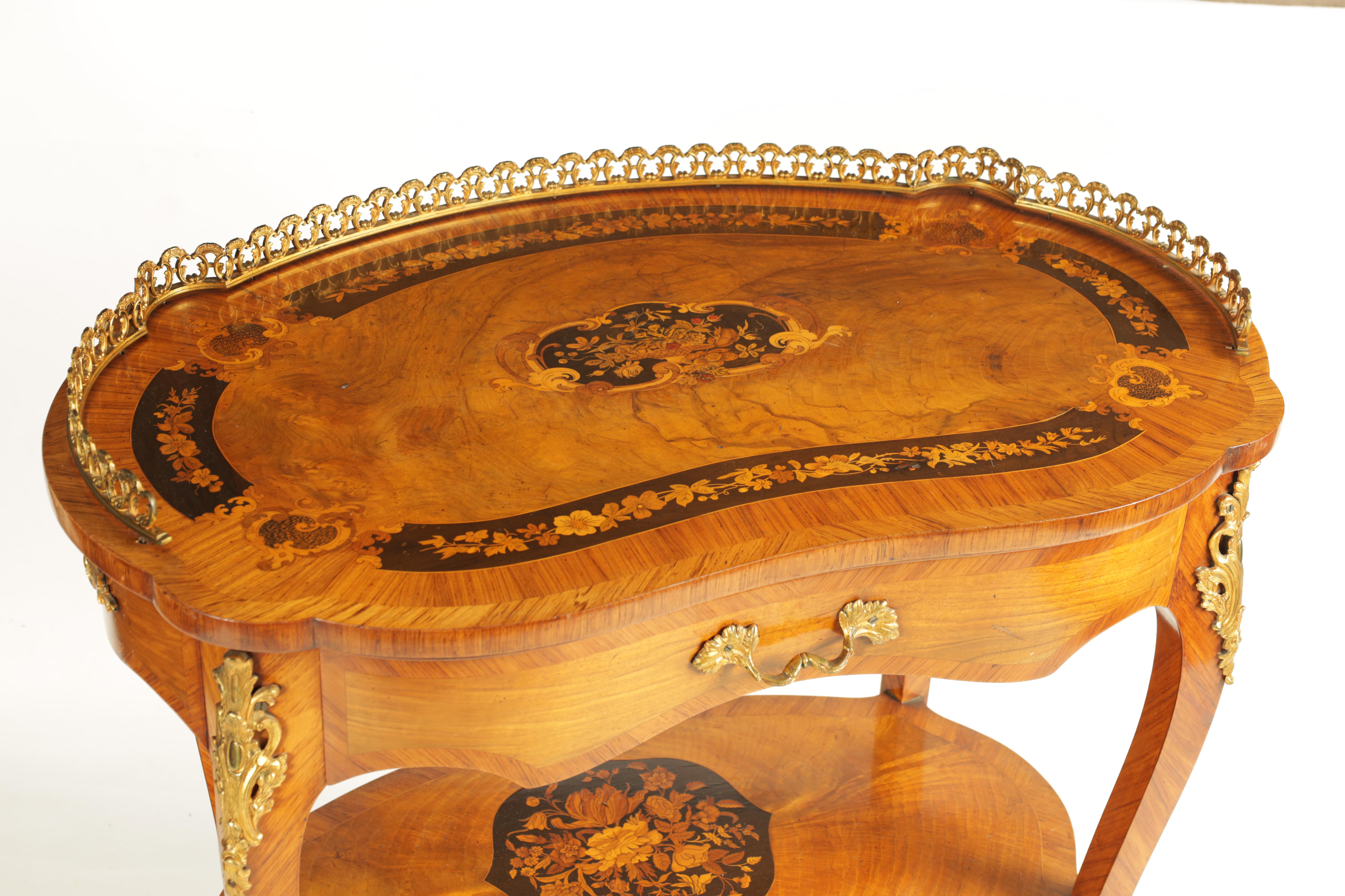 A FINE 19TH CENTURY MARQUETRY INLAID WALNUT KIDNEY SHAPED WRITING TABLE with raised brass - Image 2 of 10